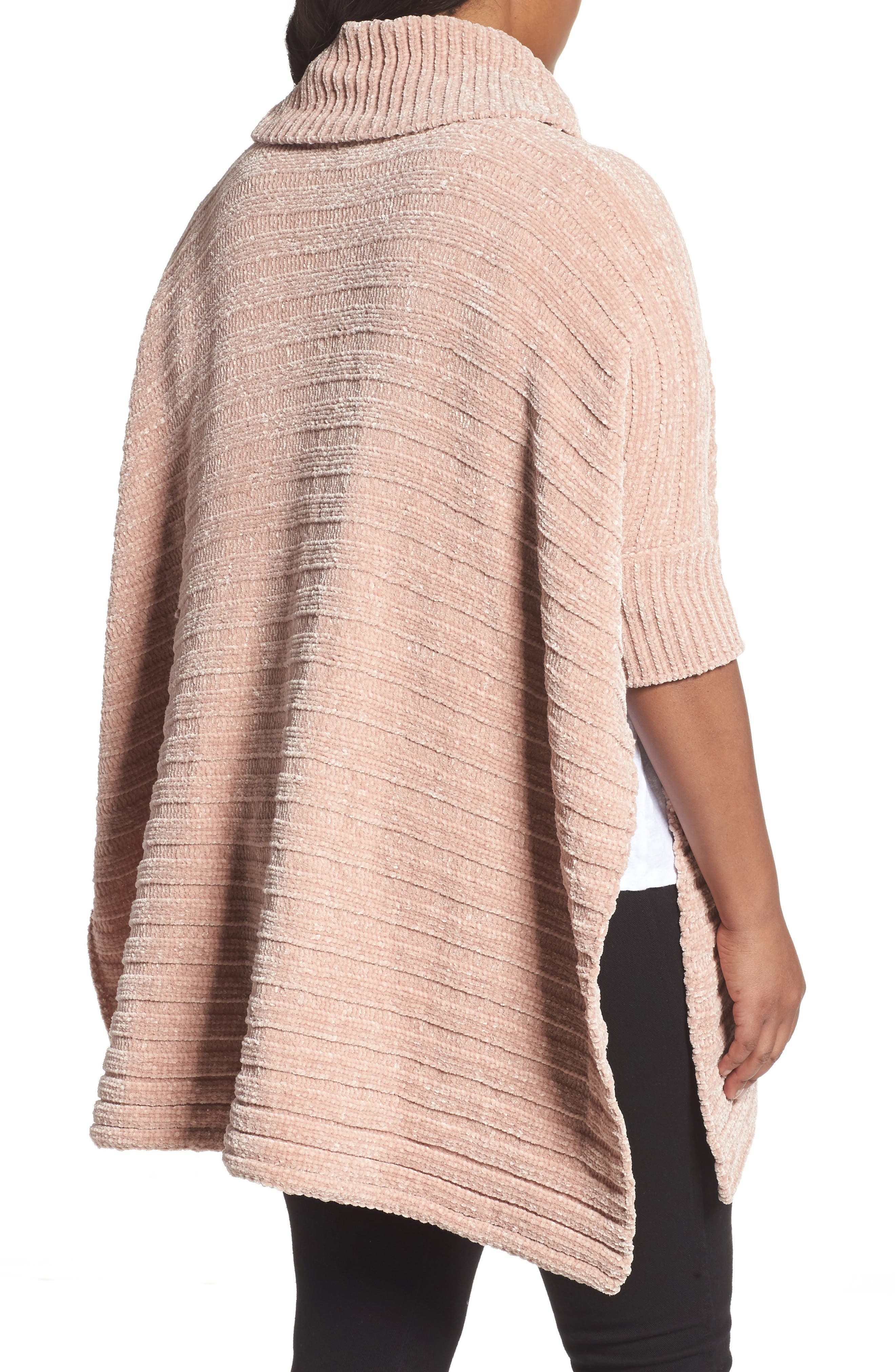 Chenille Poncho,                             Alternate thumbnail 2, color,                             Pink Adobe
