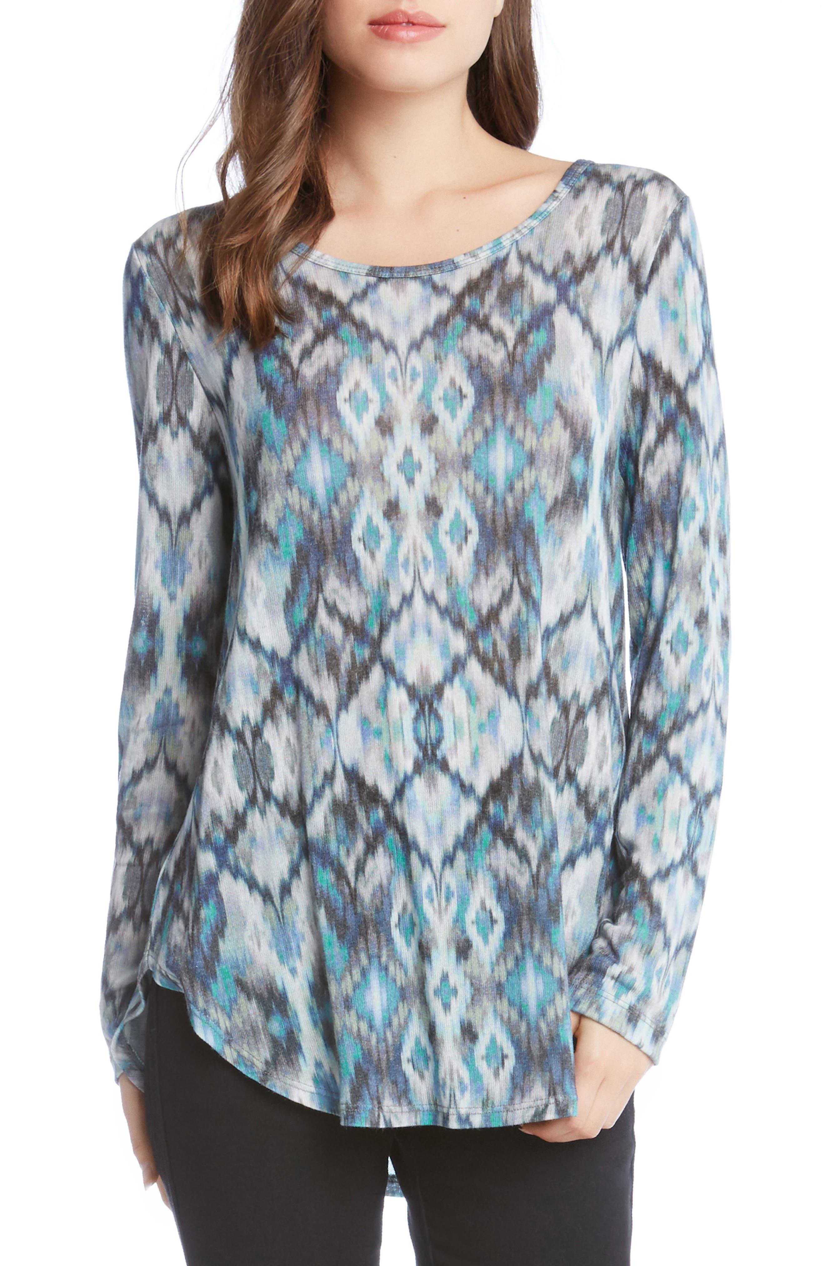 Alternate Image 1 Selected - Karen Kane Ikat Shirttail Tee