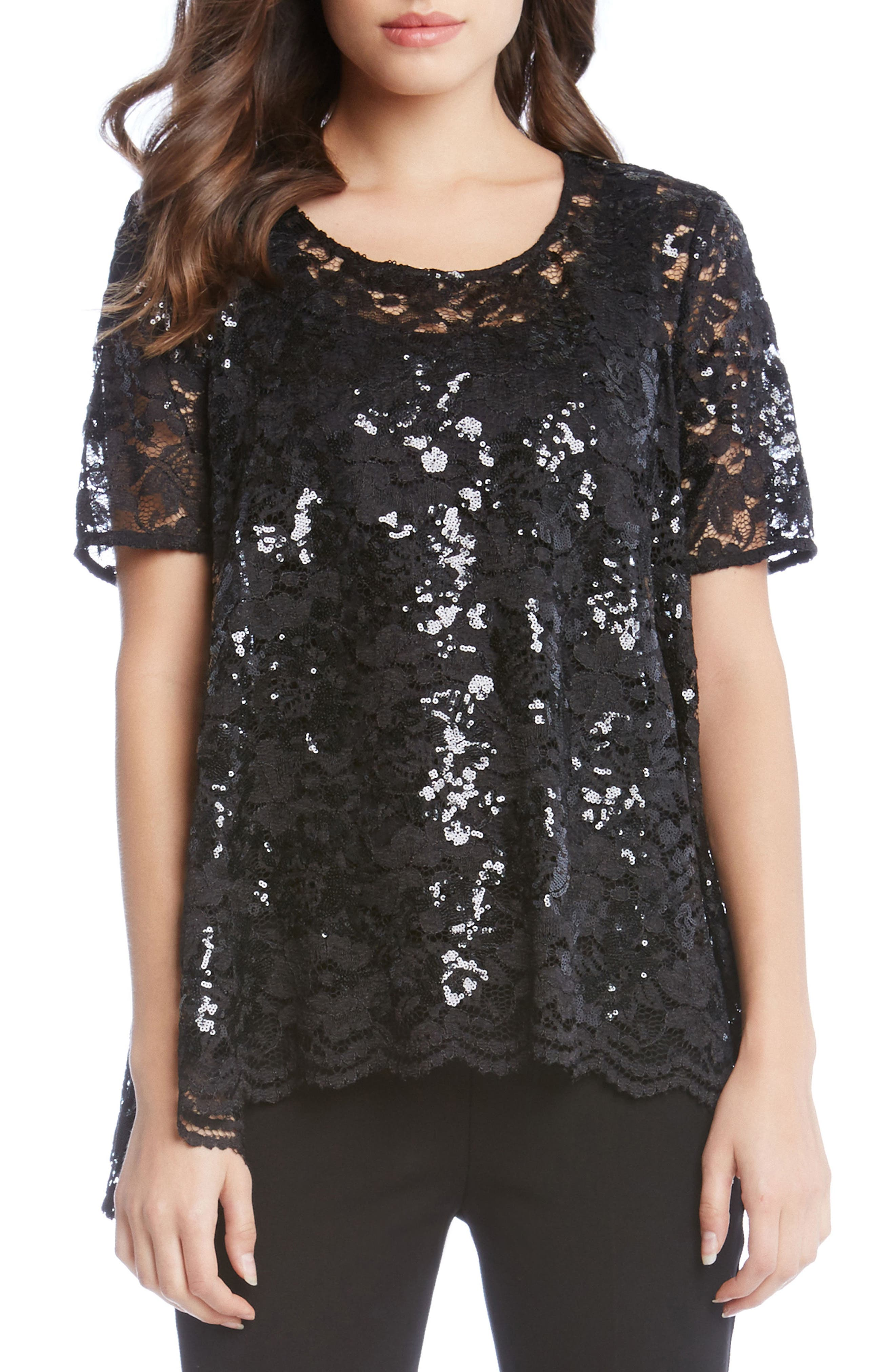 Sequin Lace Flare Top,                         Main,                         color, Black