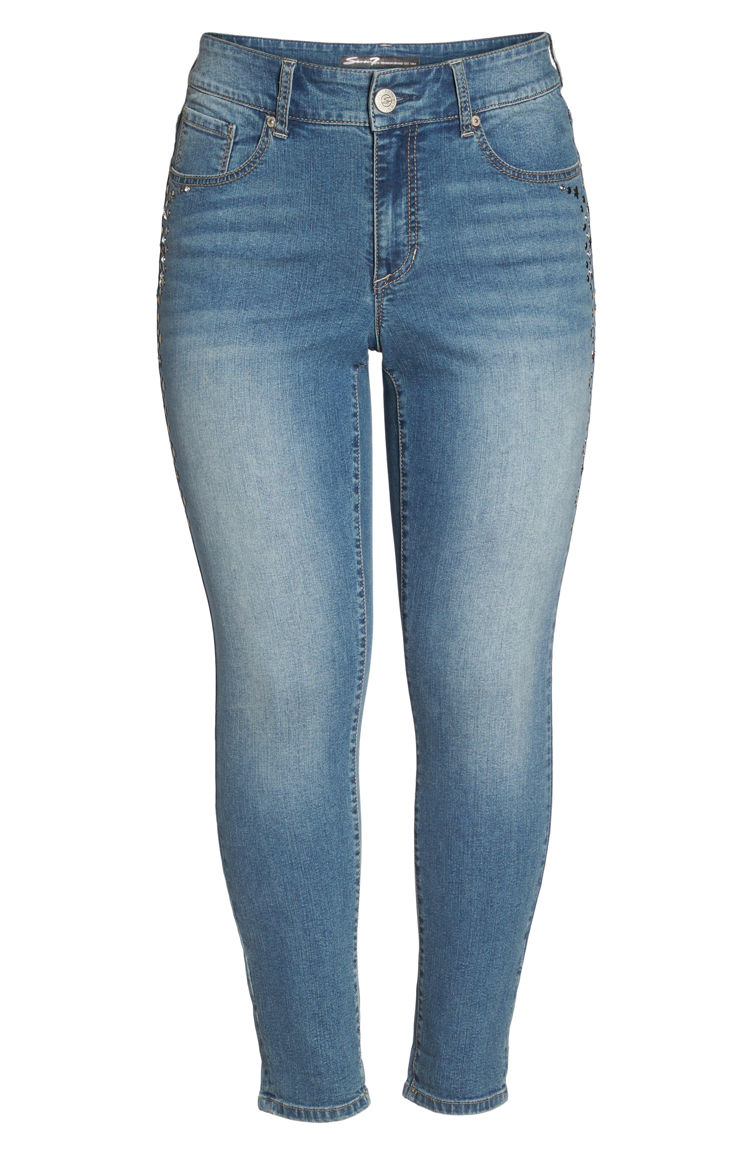 Stone Detail Skinny Jeans,                             Alternate thumbnail 6, color,                             Daphne
