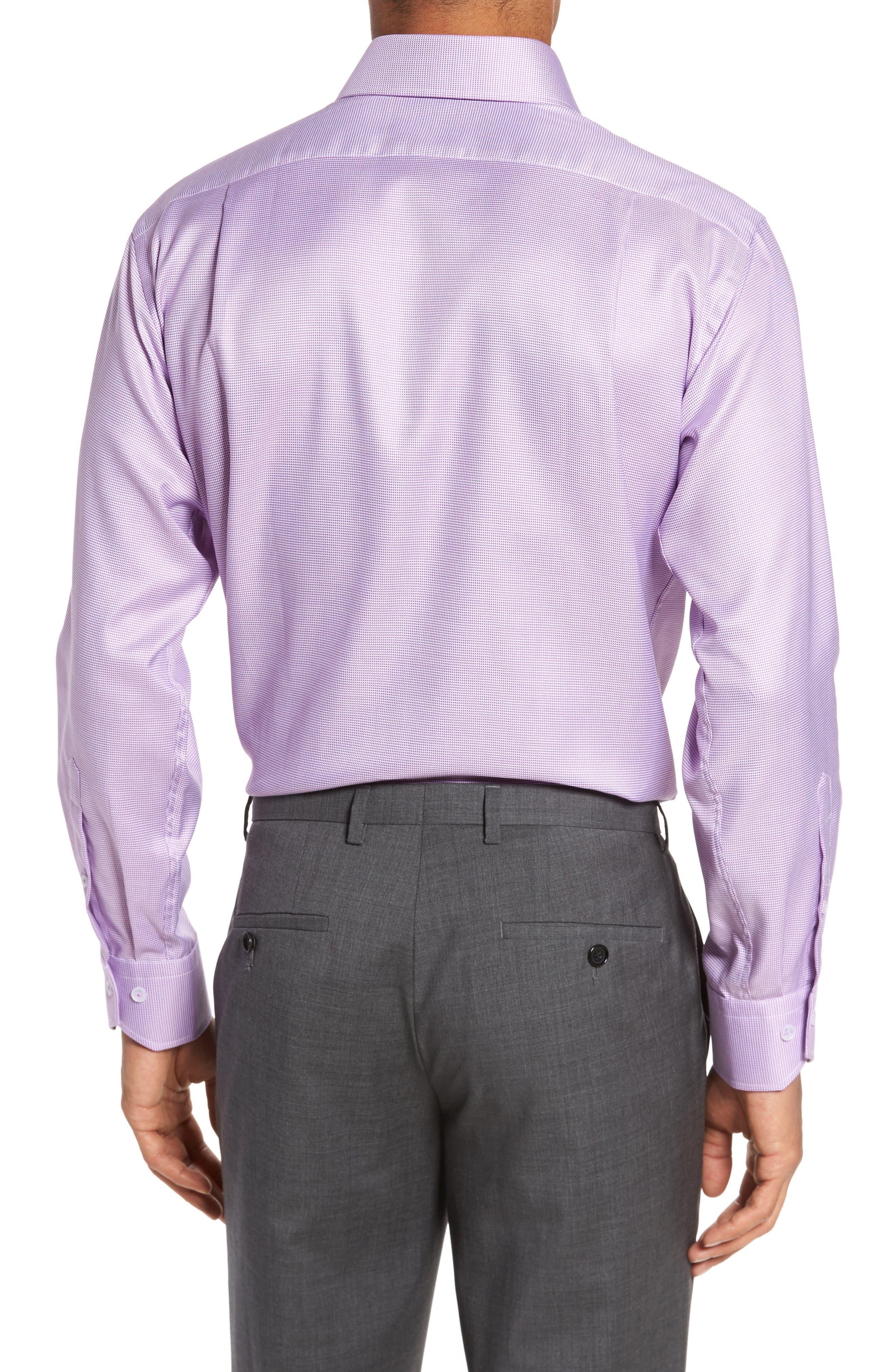 Trim Fit Houndstooth Dress Shirt,                             Alternate thumbnail 2, color,                             Lavender