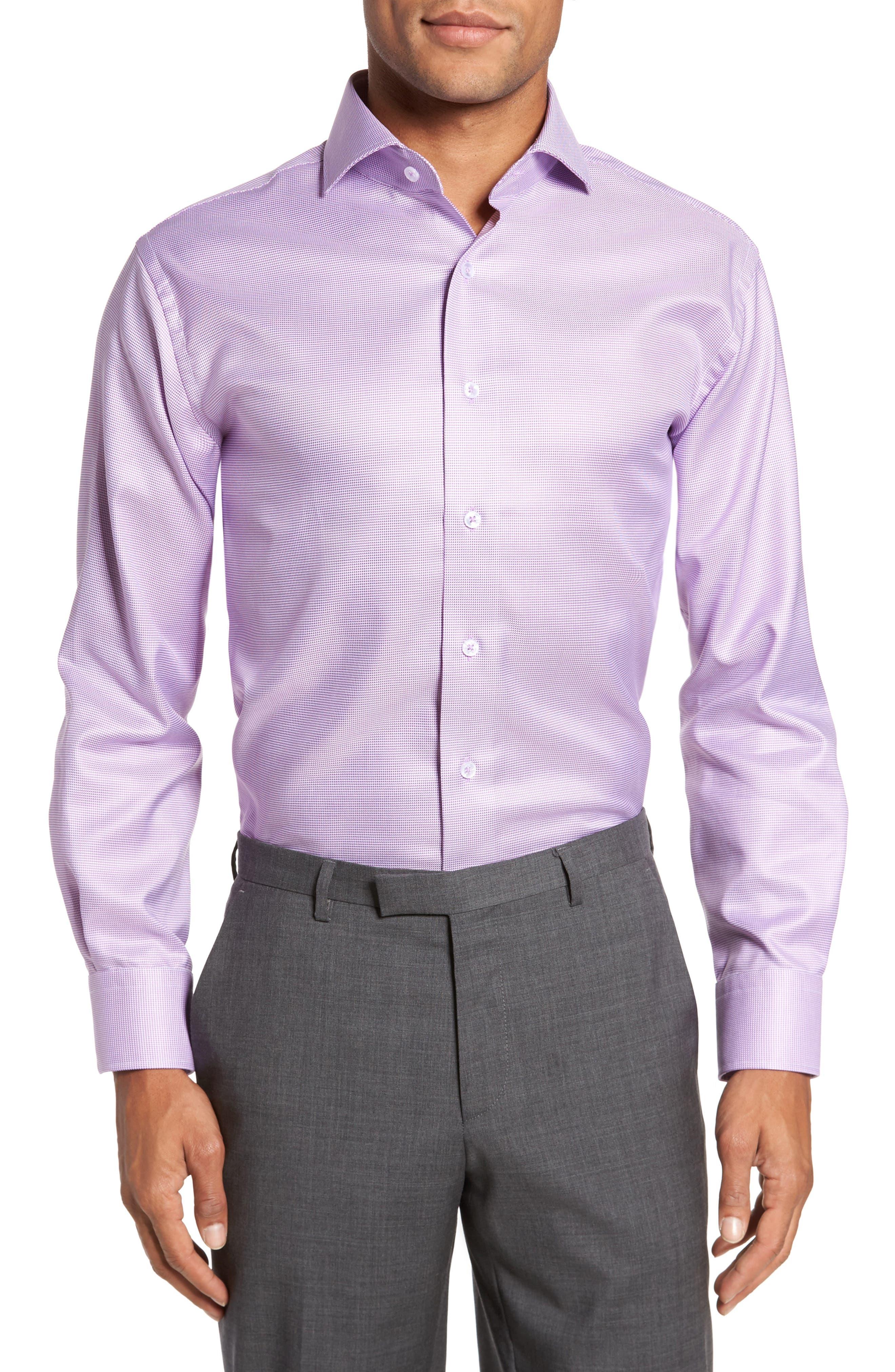 Trim Fit Houndstooth Dress Shirt,                             Main thumbnail 1, color,                             Lavender
