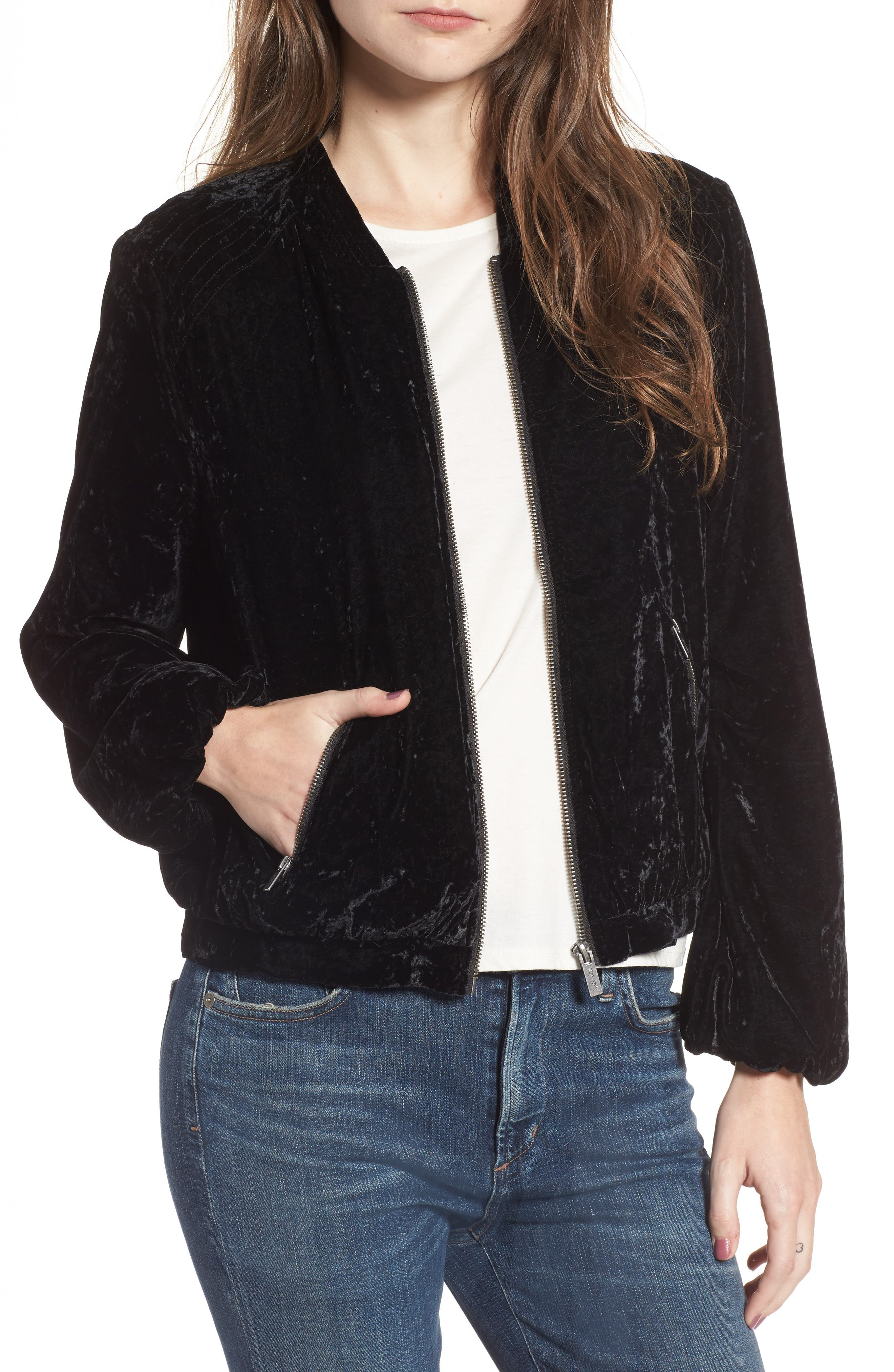 Crushed Velvet Bomber Jacket,                         Main,                         color, Black