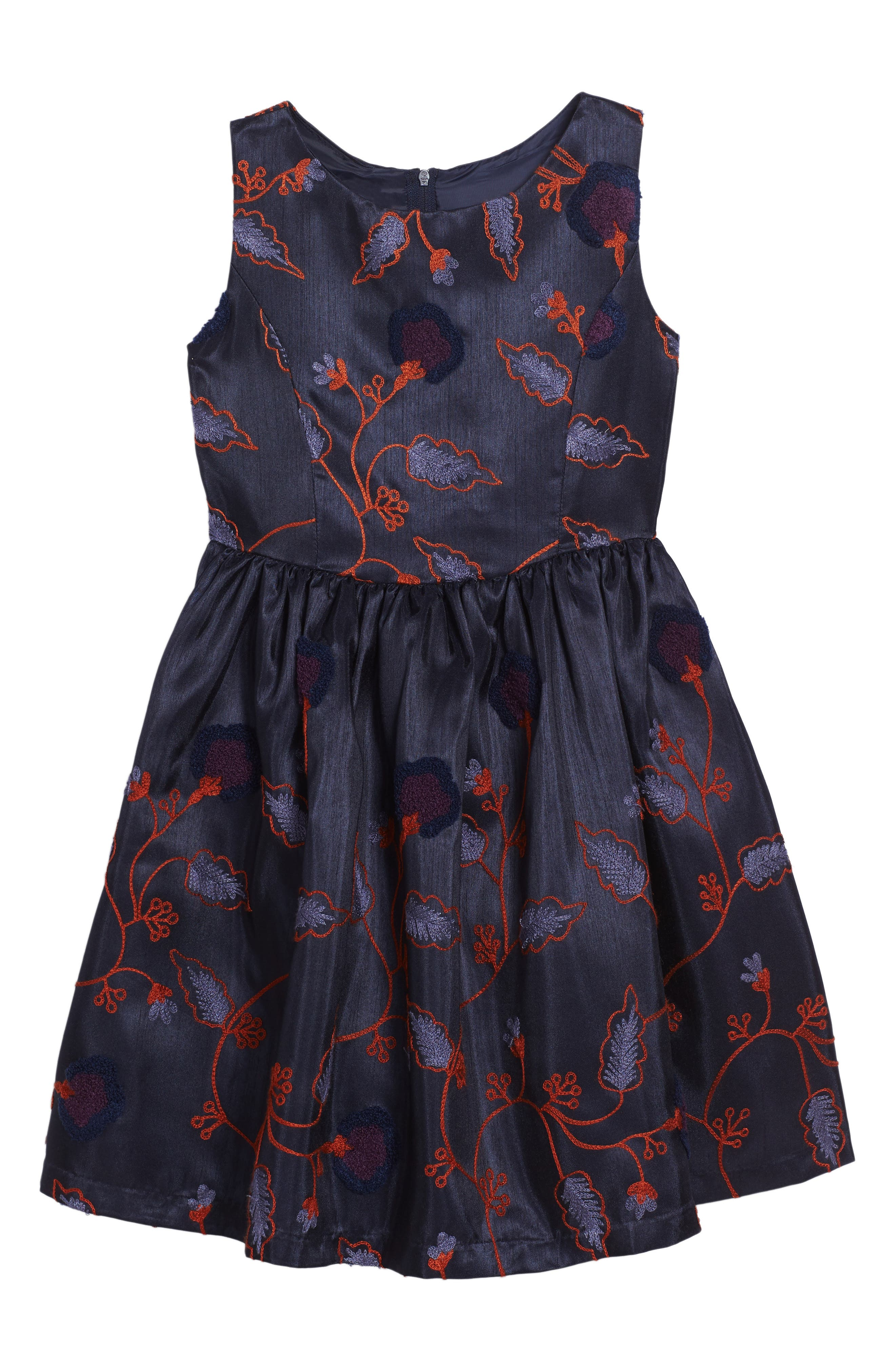 Embroidered Floral Dress,                             Main thumbnail 1, color,                             Navy/ Orange