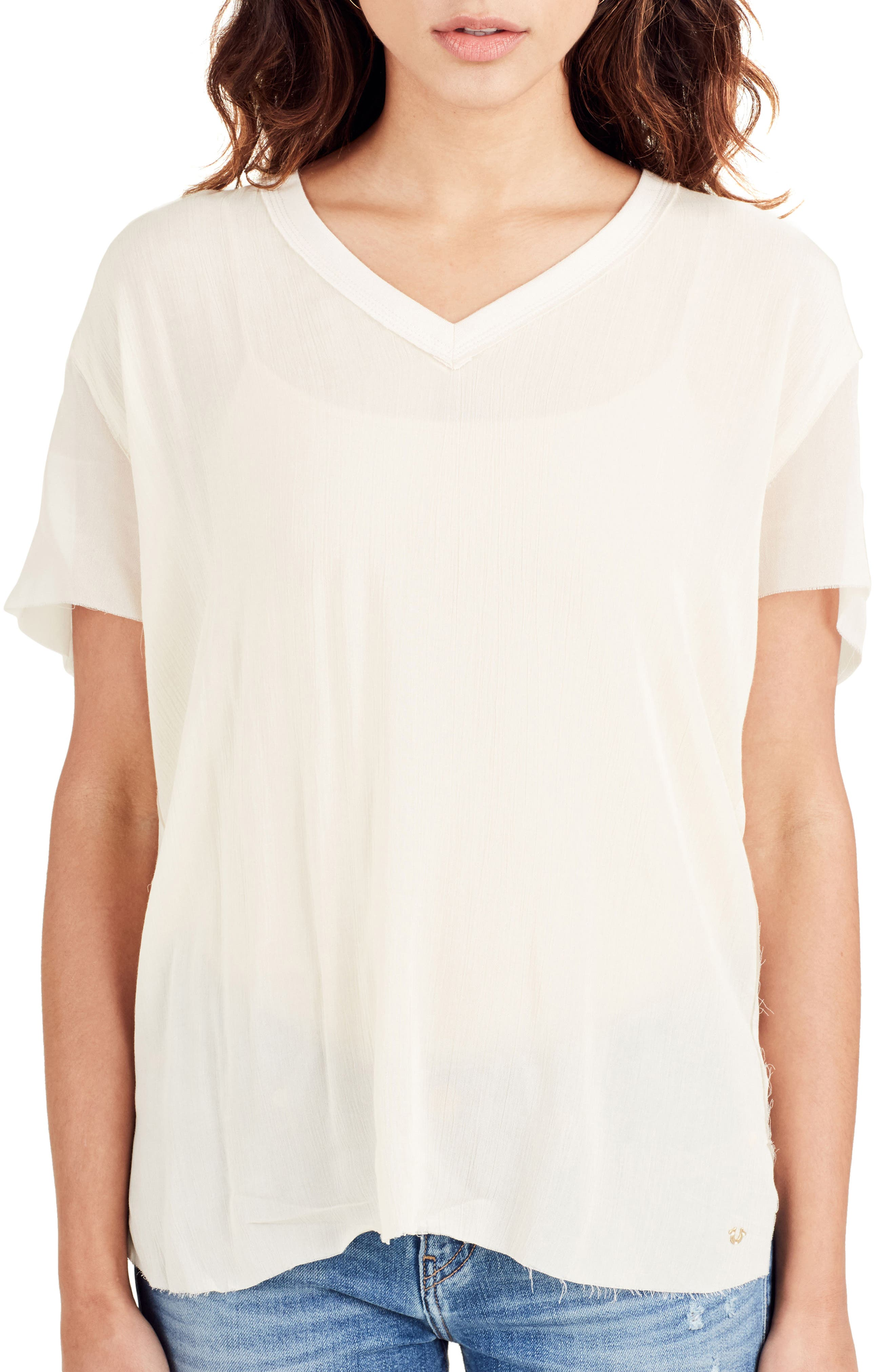 Georgette Tee,                             Main thumbnail 1, color,                             Scuffed Beige