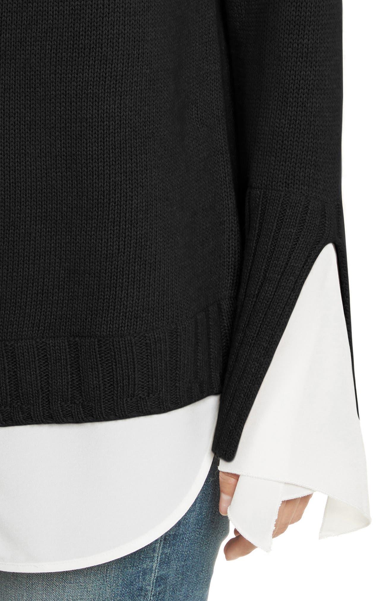 Remi Layered Pullover,                             Alternate thumbnail 4, color,                             Black/ White
