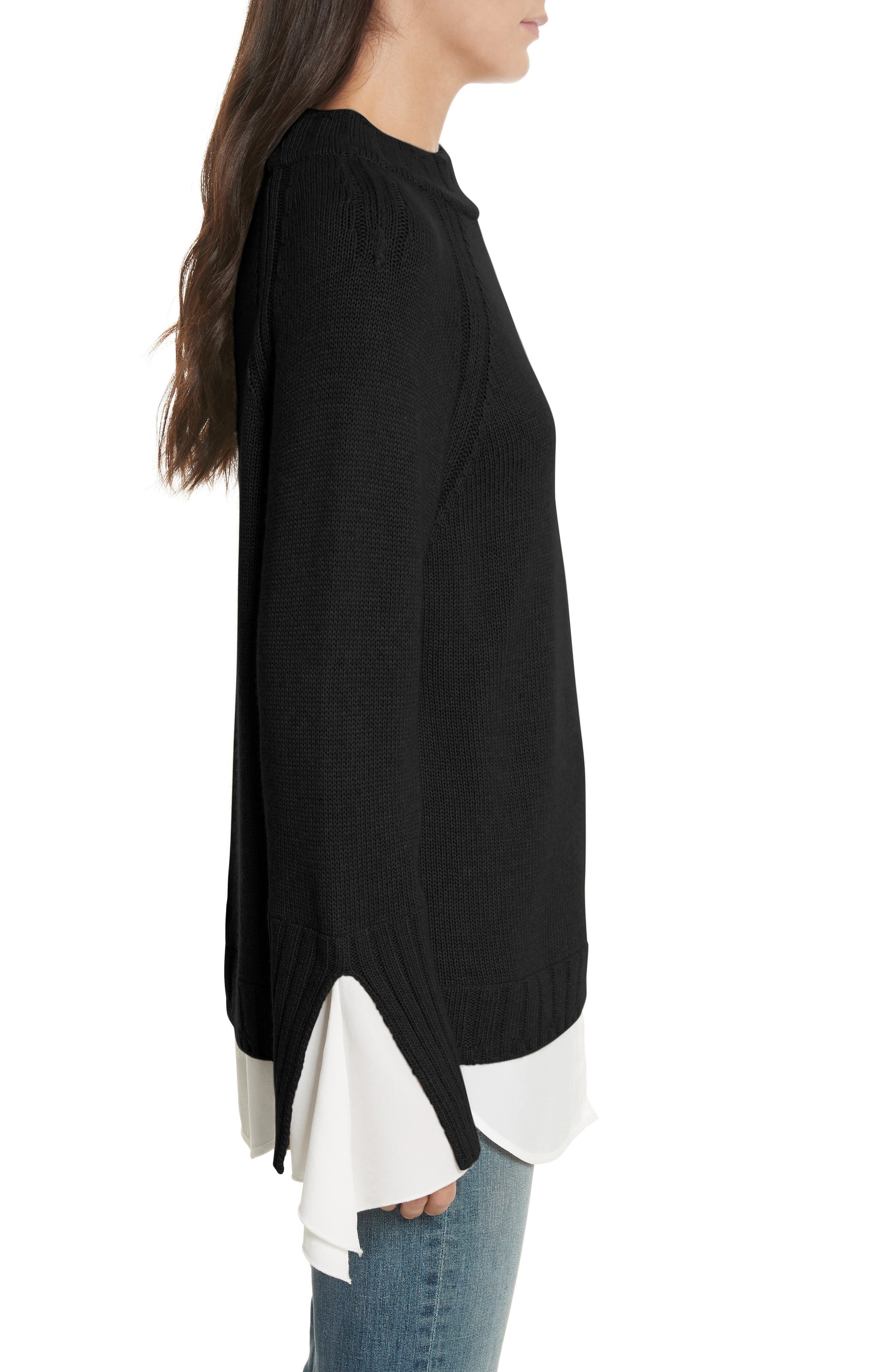 Remi Layered Pullover,                             Alternate thumbnail 3, color,                             Black/ White