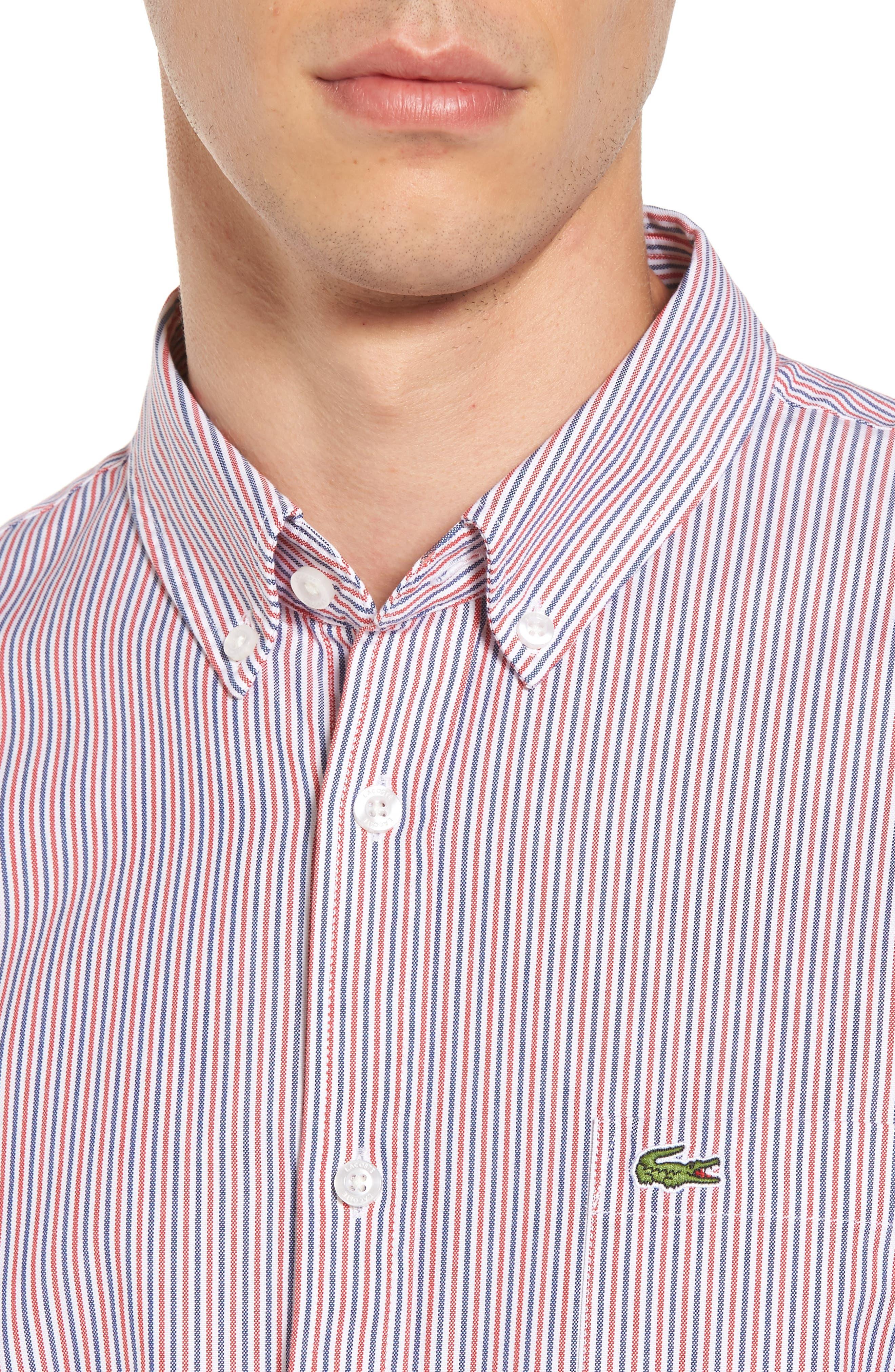 Button-Down Sport Shirt,                             Alternate thumbnail 4, color,                             Cherry Red/ Methylene-White