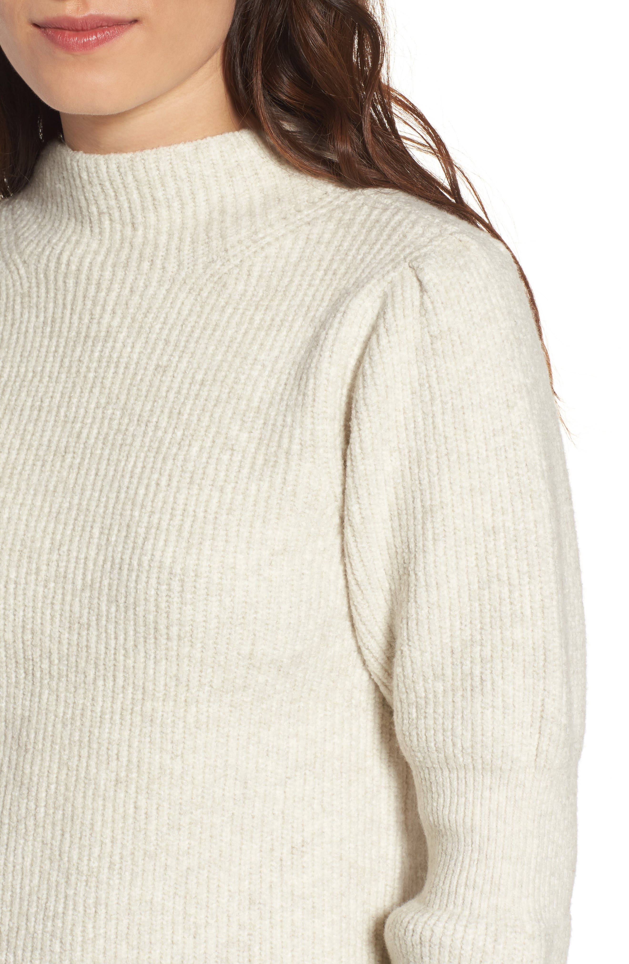 Ribbed Mock Neck Sweater,                             Alternate thumbnail 4, color,                             Beige Oatmeal Heather