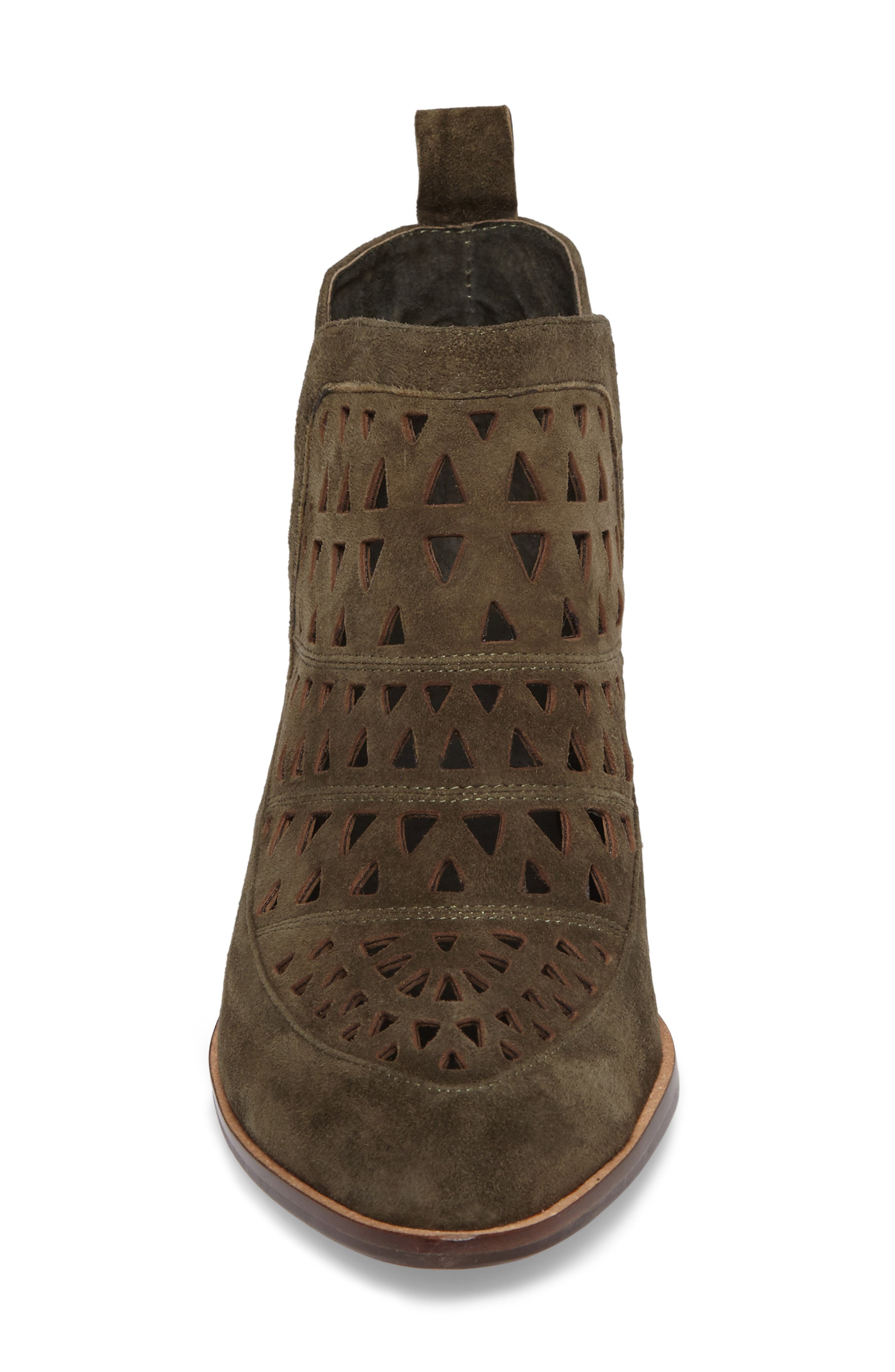 Catherine Cutout Bootie,                             Alternate thumbnail 4, color,                             Olive Suede