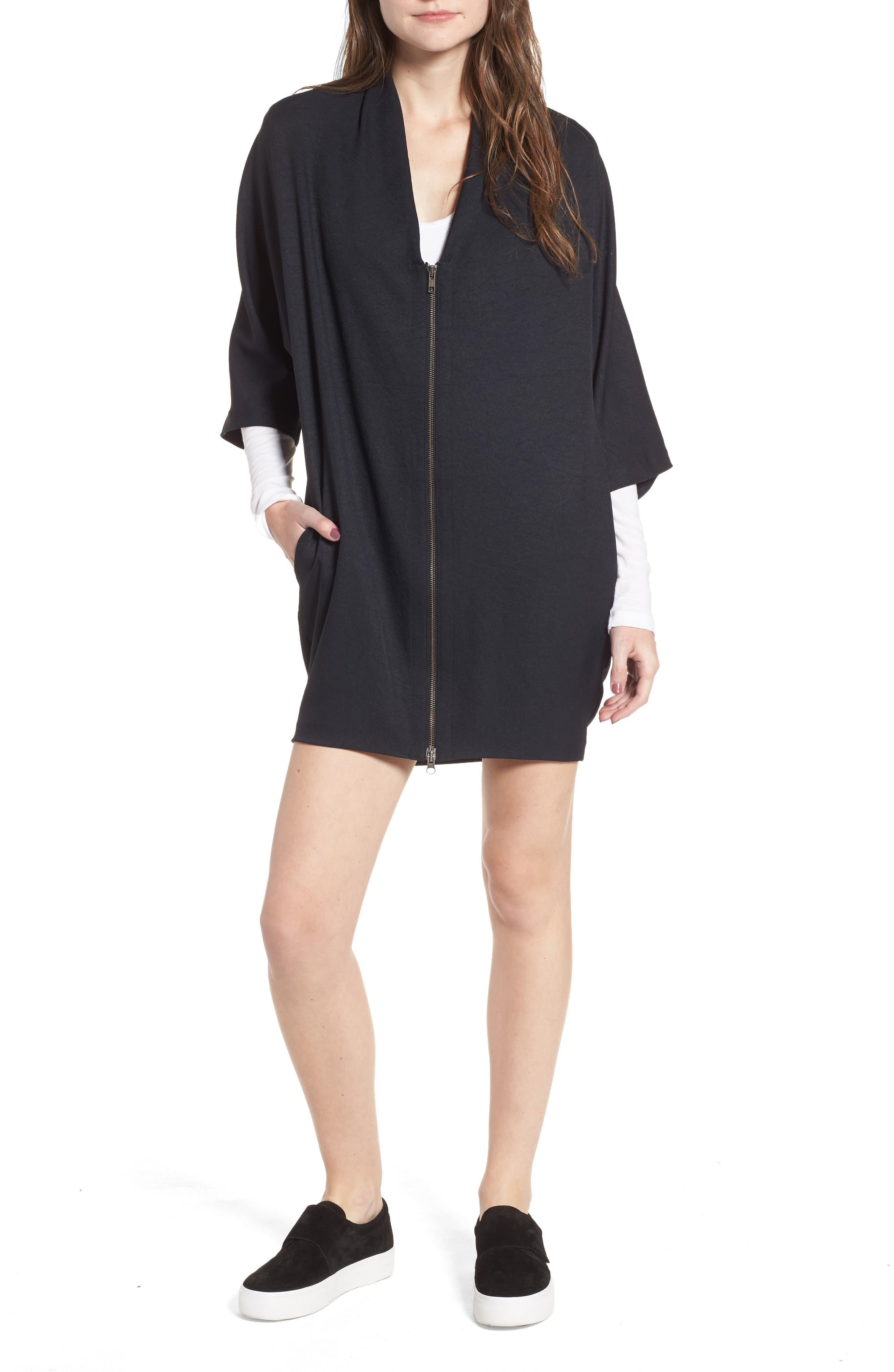 Zip Cocoon Dress,                             Alternate thumbnail 4, color,                             Black