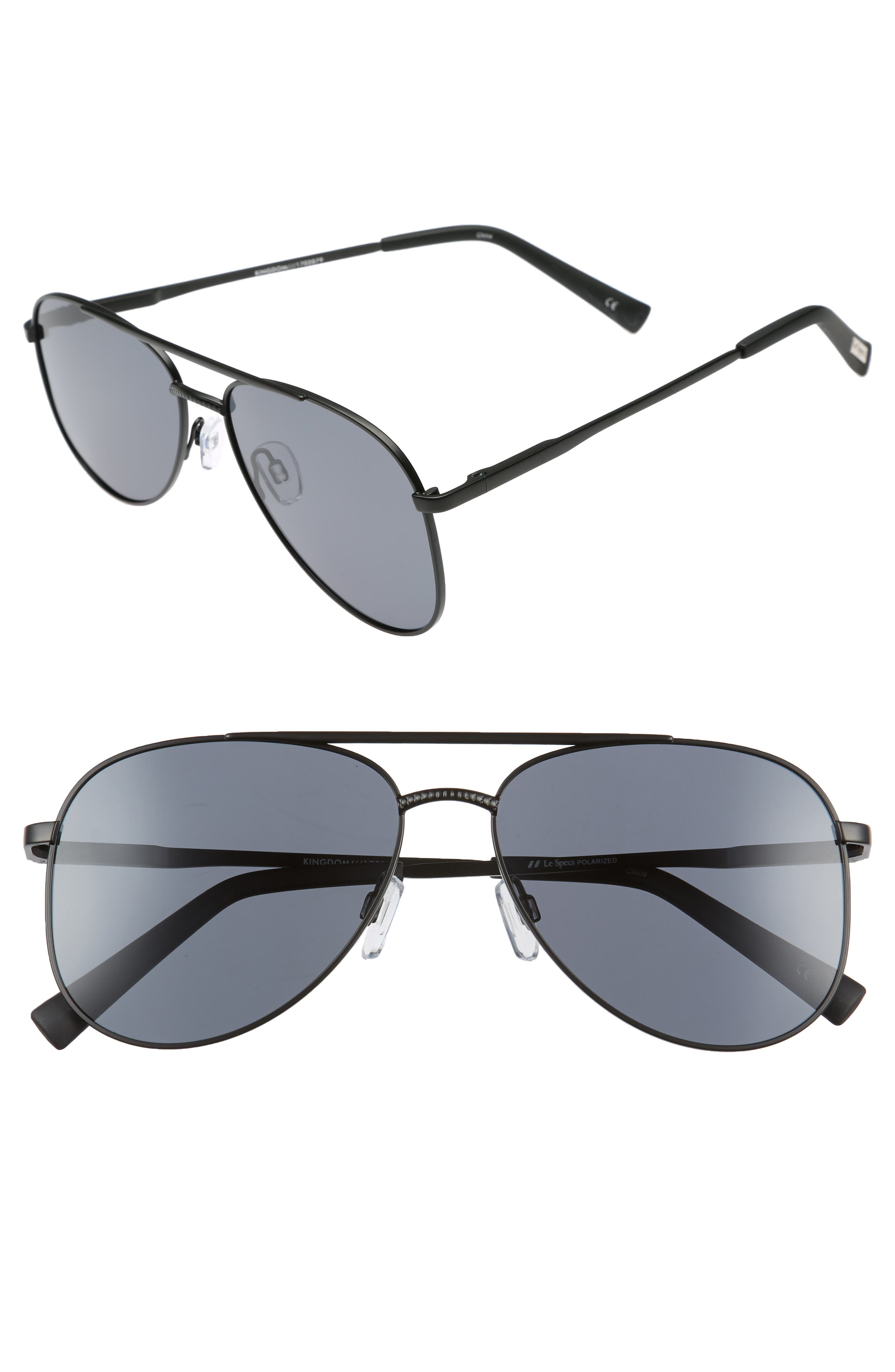 Kingdom 57mm Polarized Aviator Sunglasses,                             Main thumbnail 1, color,                             Matte Black
