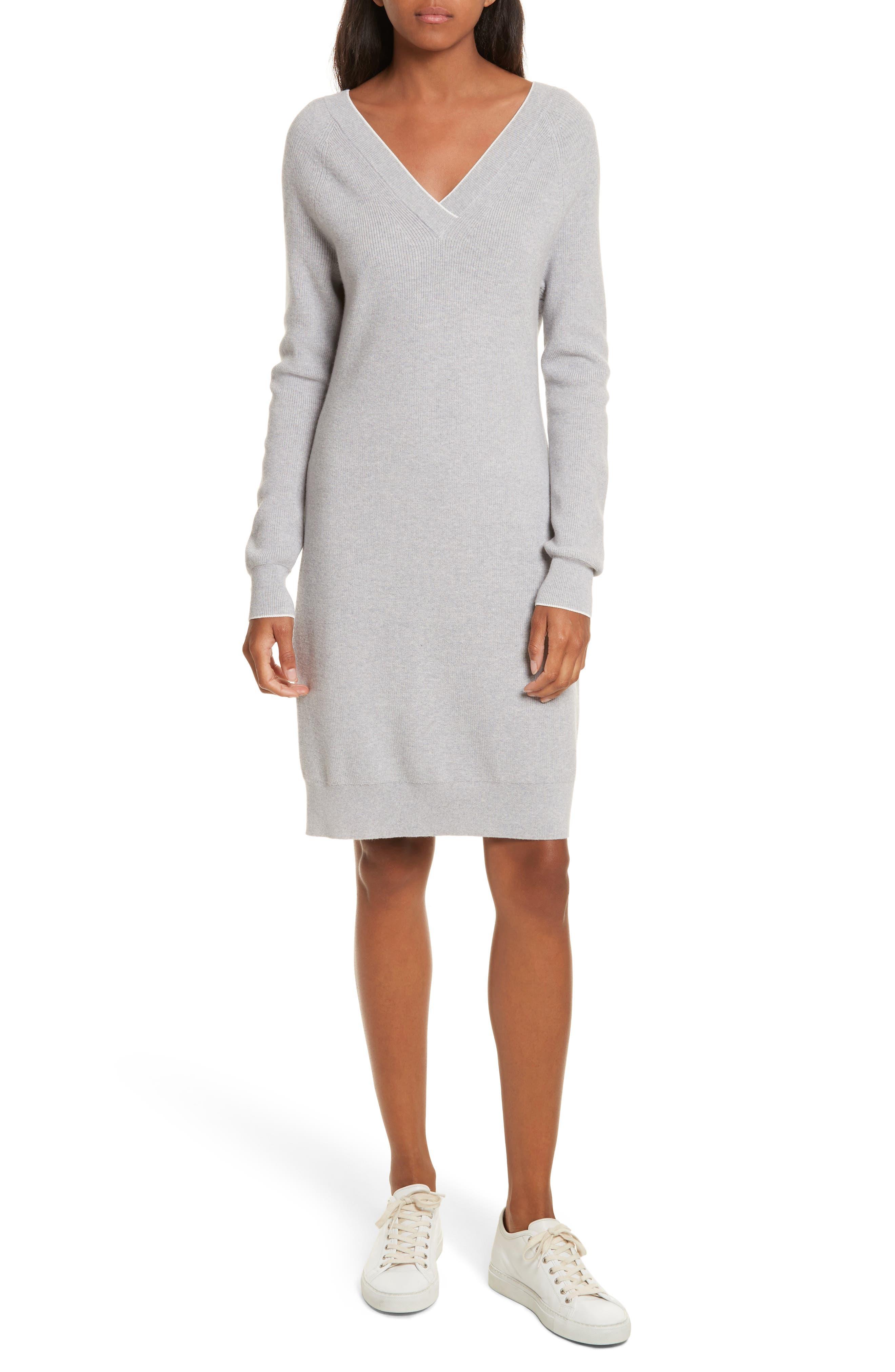 Wool Blend Sweater Dress,                         Main,                         color, Tin Grey