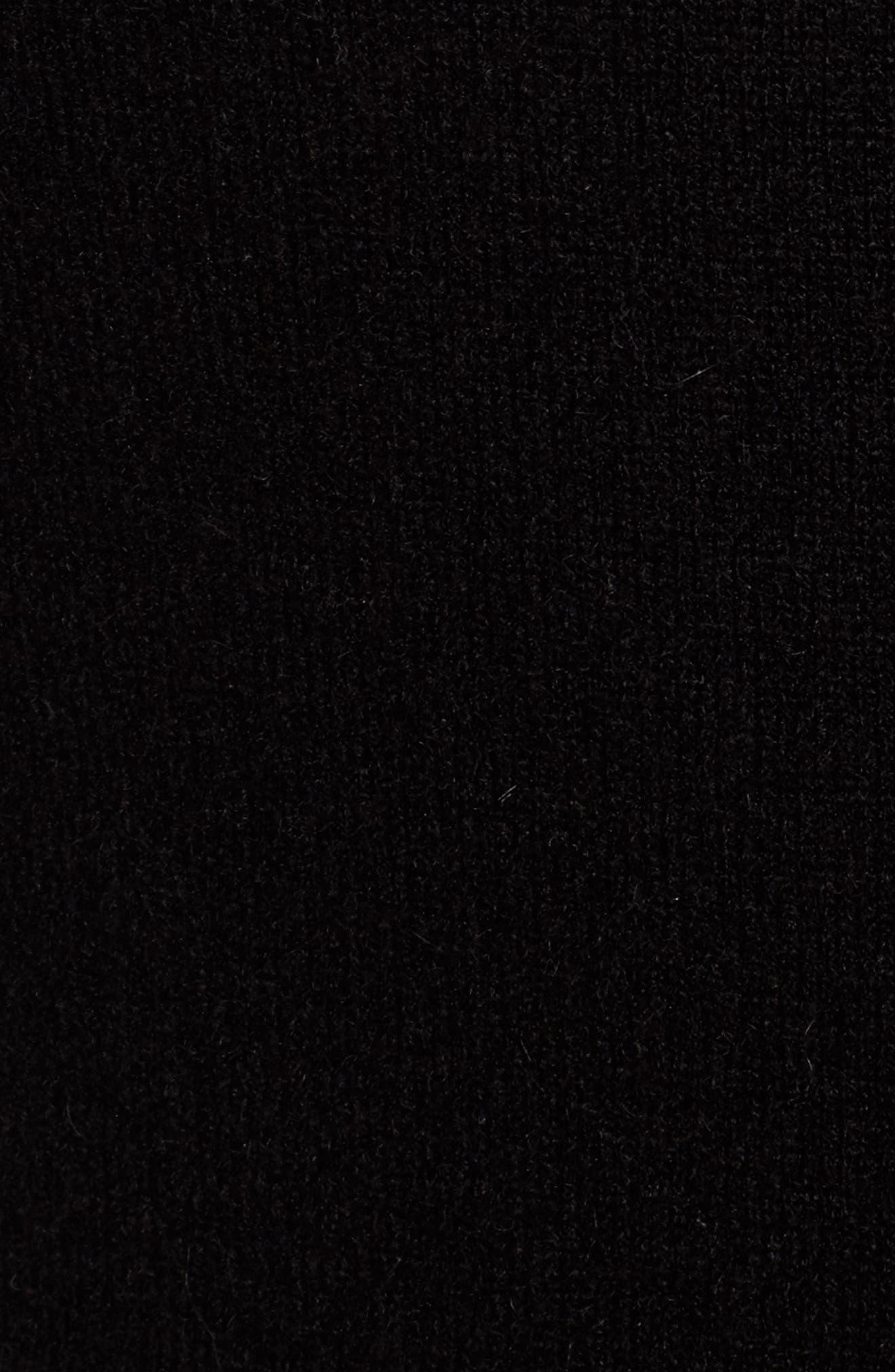 Cashmere Blend V-Neck Midi Dress,                             Alternate thumbnail 5, color,                             Black