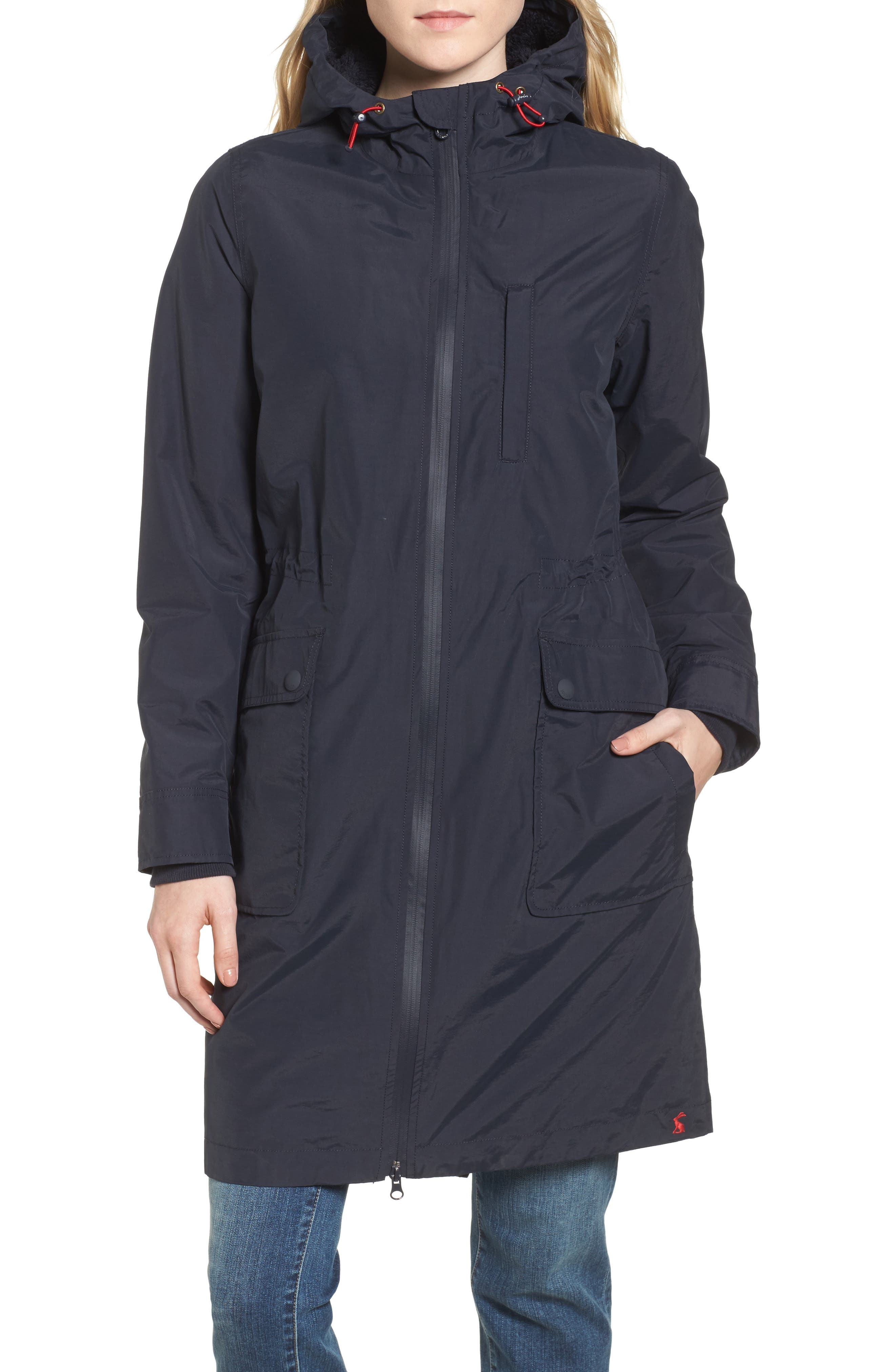Hooded Fleece Lined Raincoat,                             Alternate thumbnail 4, color,                             Marine Navy