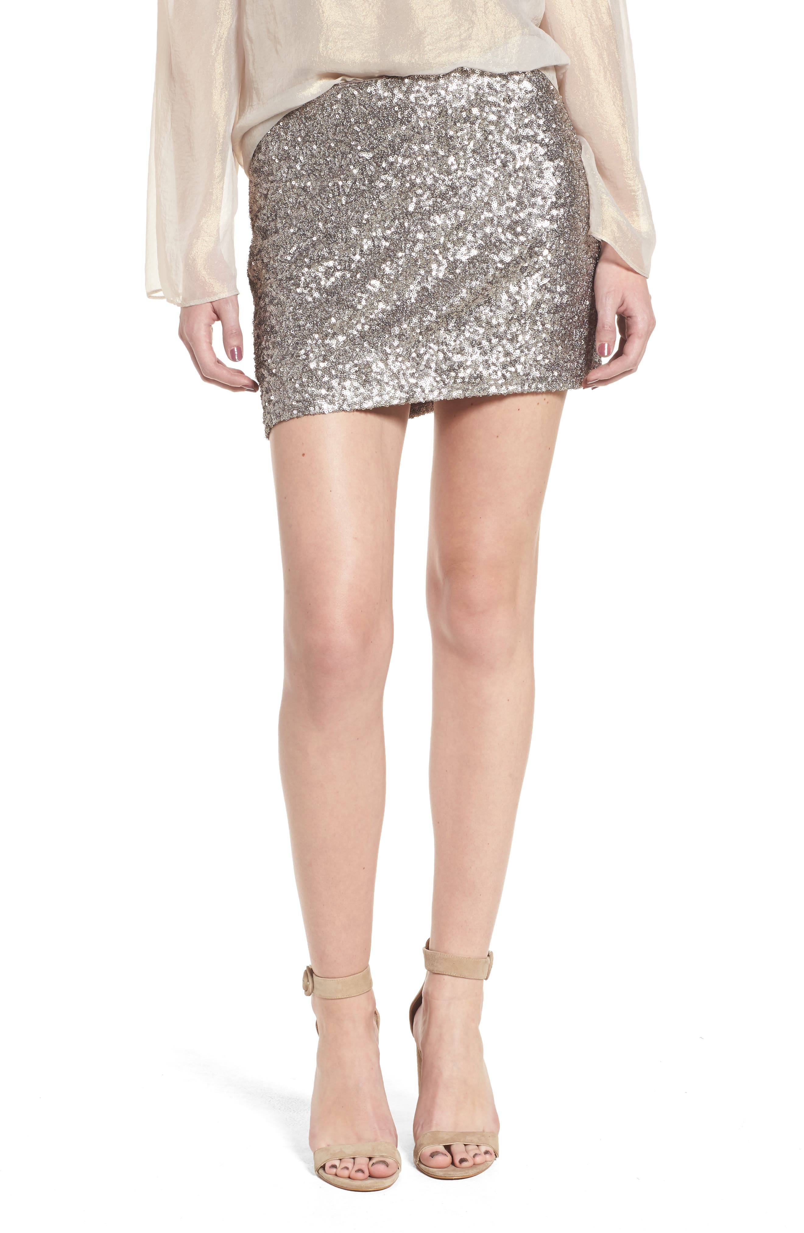 Scene Stealing Miniskirt,                         Main,                         color, Taupe