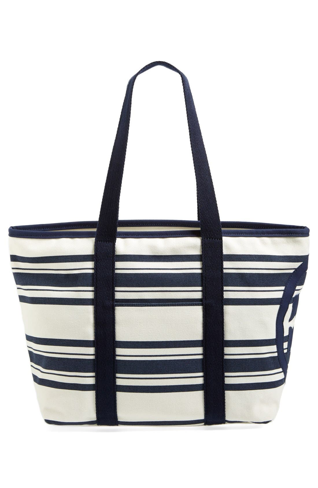 Small Canvas Stripe Tote,                             Alternate thumbnail 3, color,                             Tory Navy Awning Stripe