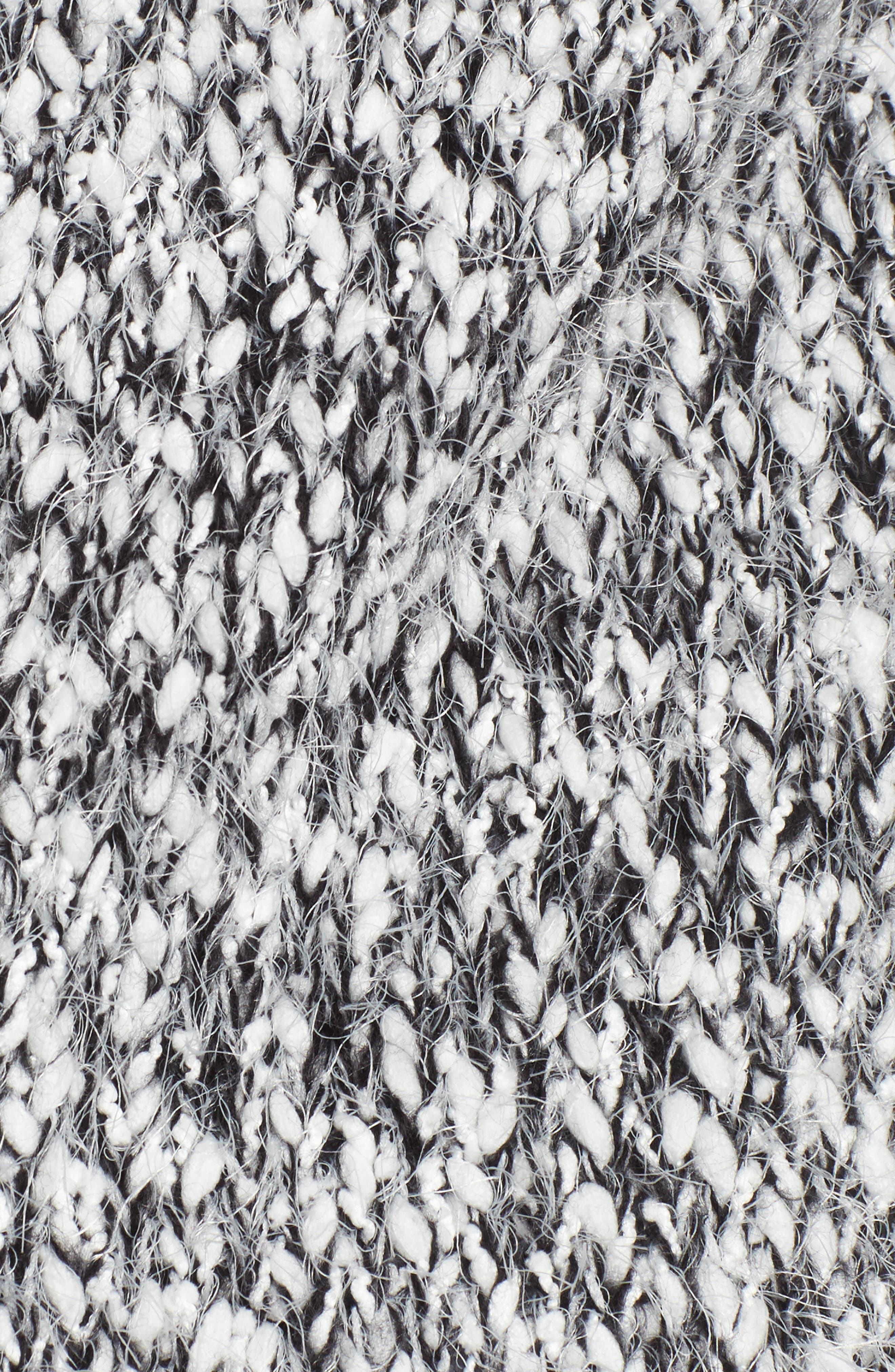 Eyelash Hooded Cardigan,                             Alternate thumbnail 5, color,                             Black/ White