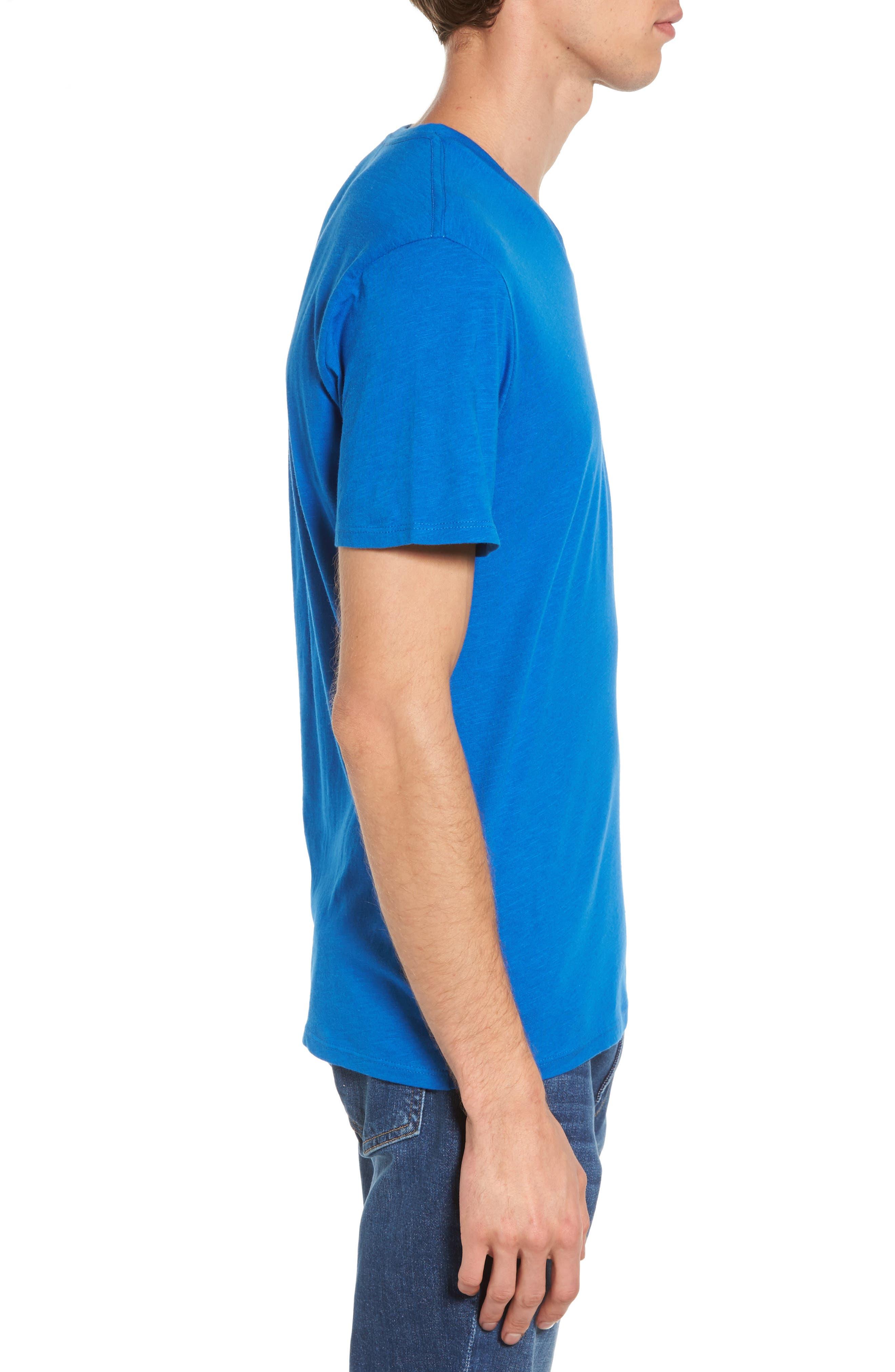 Slub Cotton V-Neck T-Shirt,                             Alternate thumbnail 3, color,                             Blue Racer