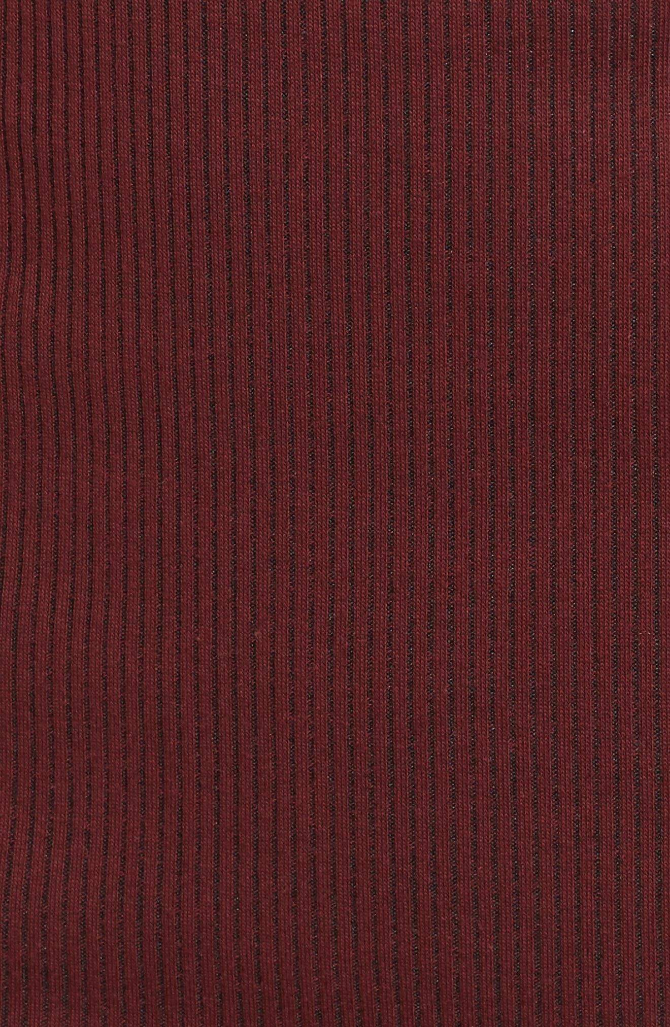Ribbed Body-Con Midi Dress,                             Alternate thumbnail 5, color,                             Burgundy