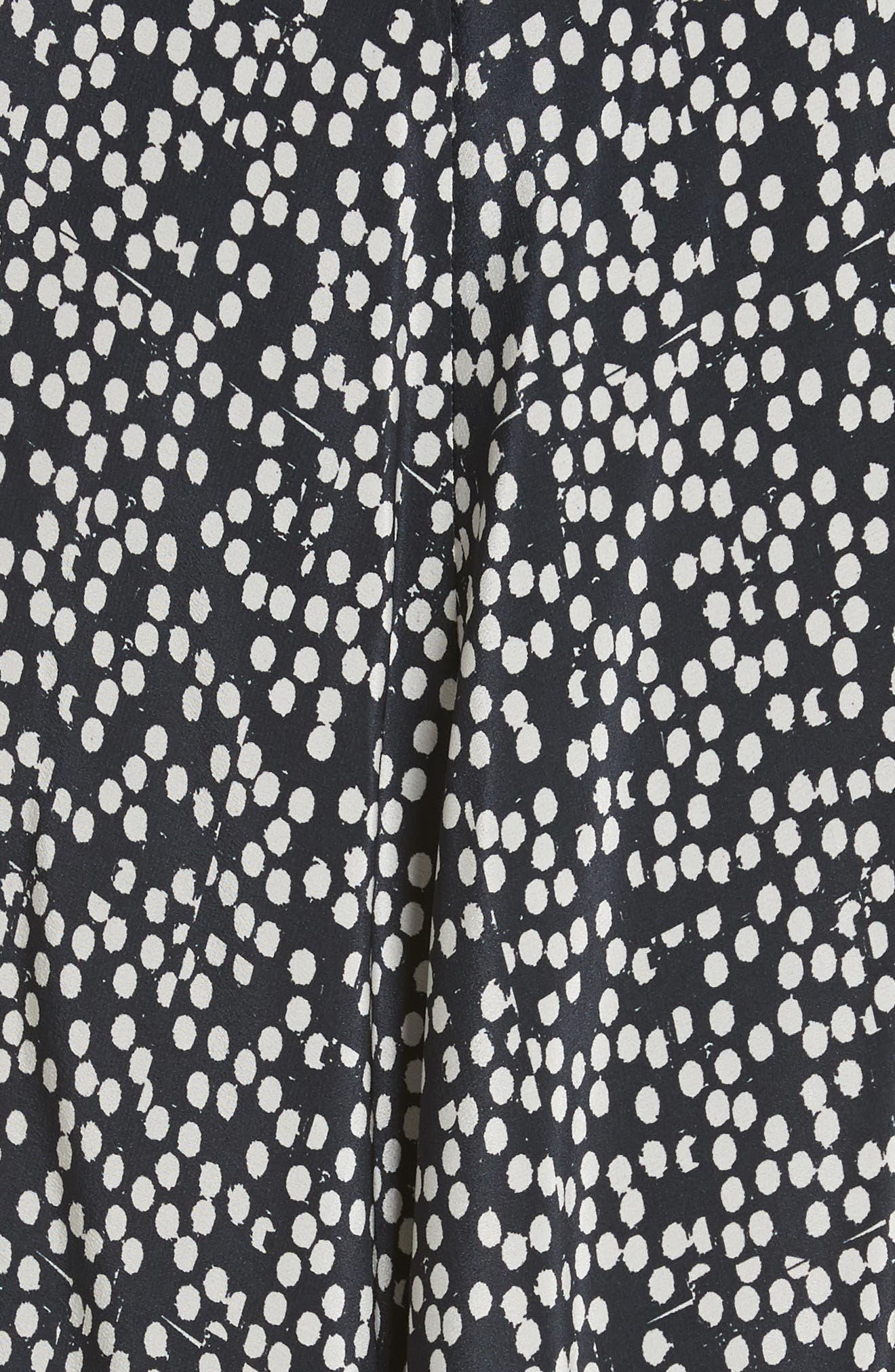 Peter Dot Print Midi Dress,                             Alternate thumbnail 6, color,                             Black