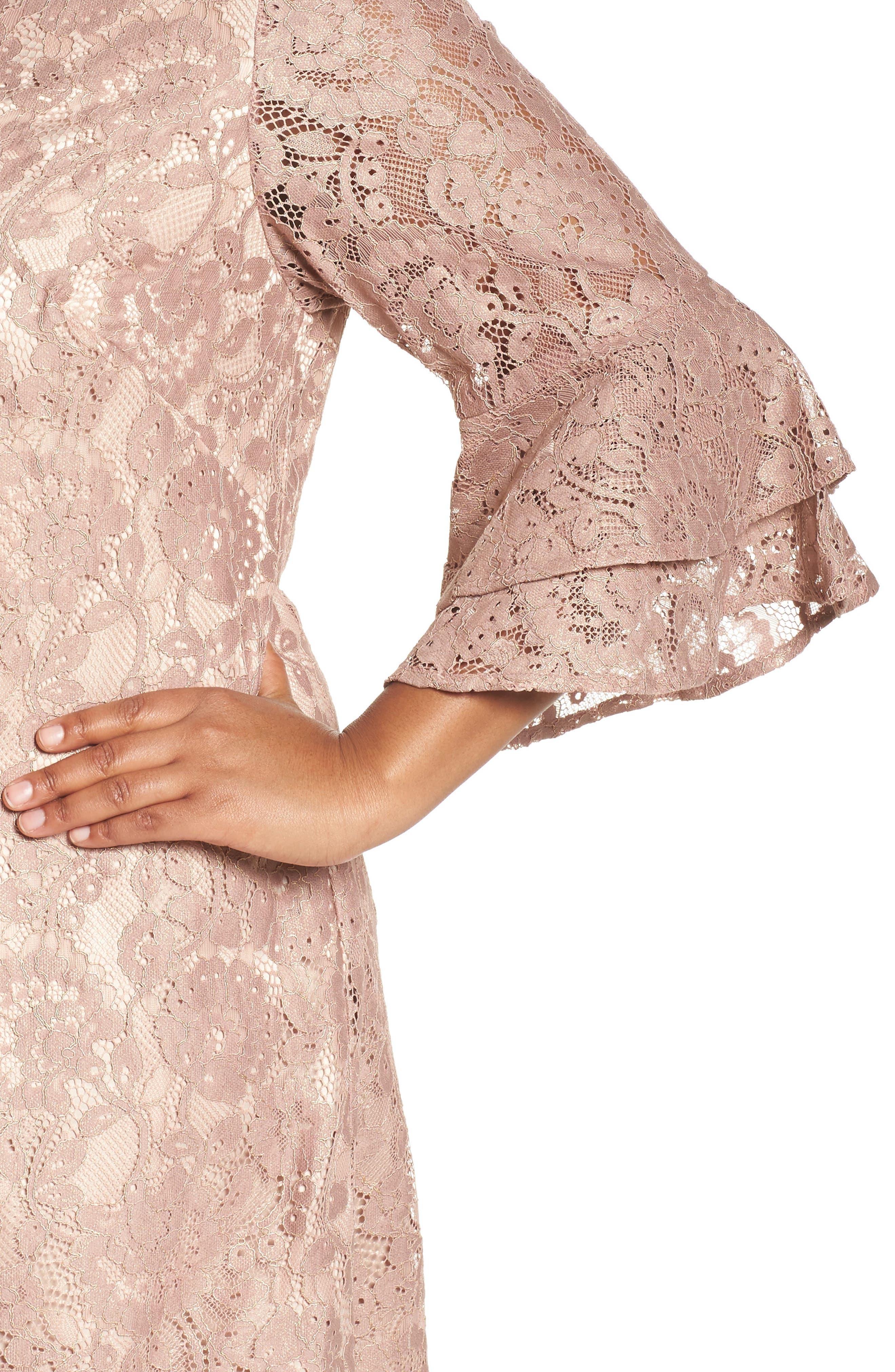 Ruffle Cuff Lace Shift Dress,                             Alternate thumbnail 4, color,                             Blush