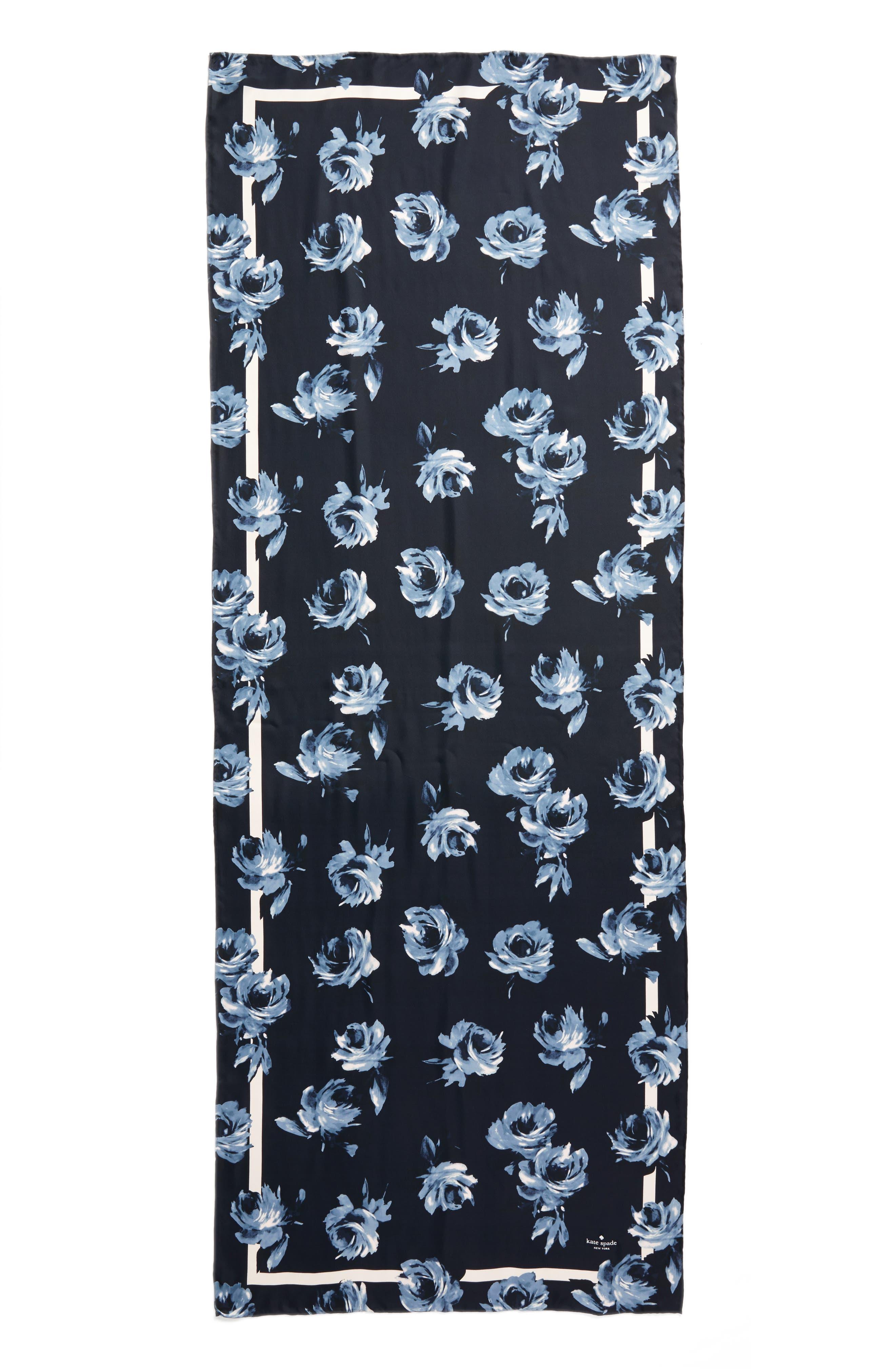 night rose silk oblong scarf,                             Alternate thumbnail 2, color,                             Rich Navy