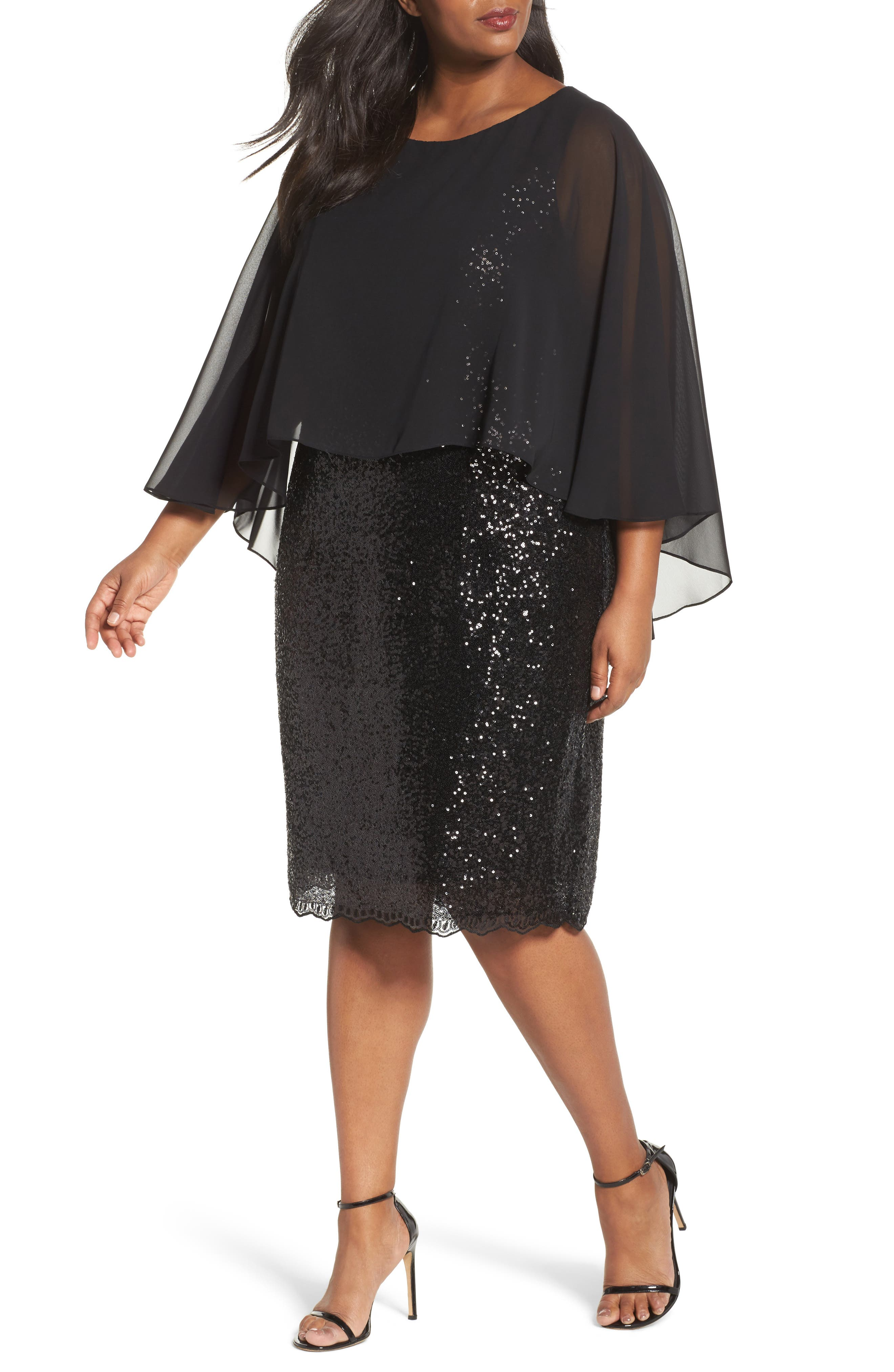Capelet Sequin Shift Dress,                         Main,                         color, Black