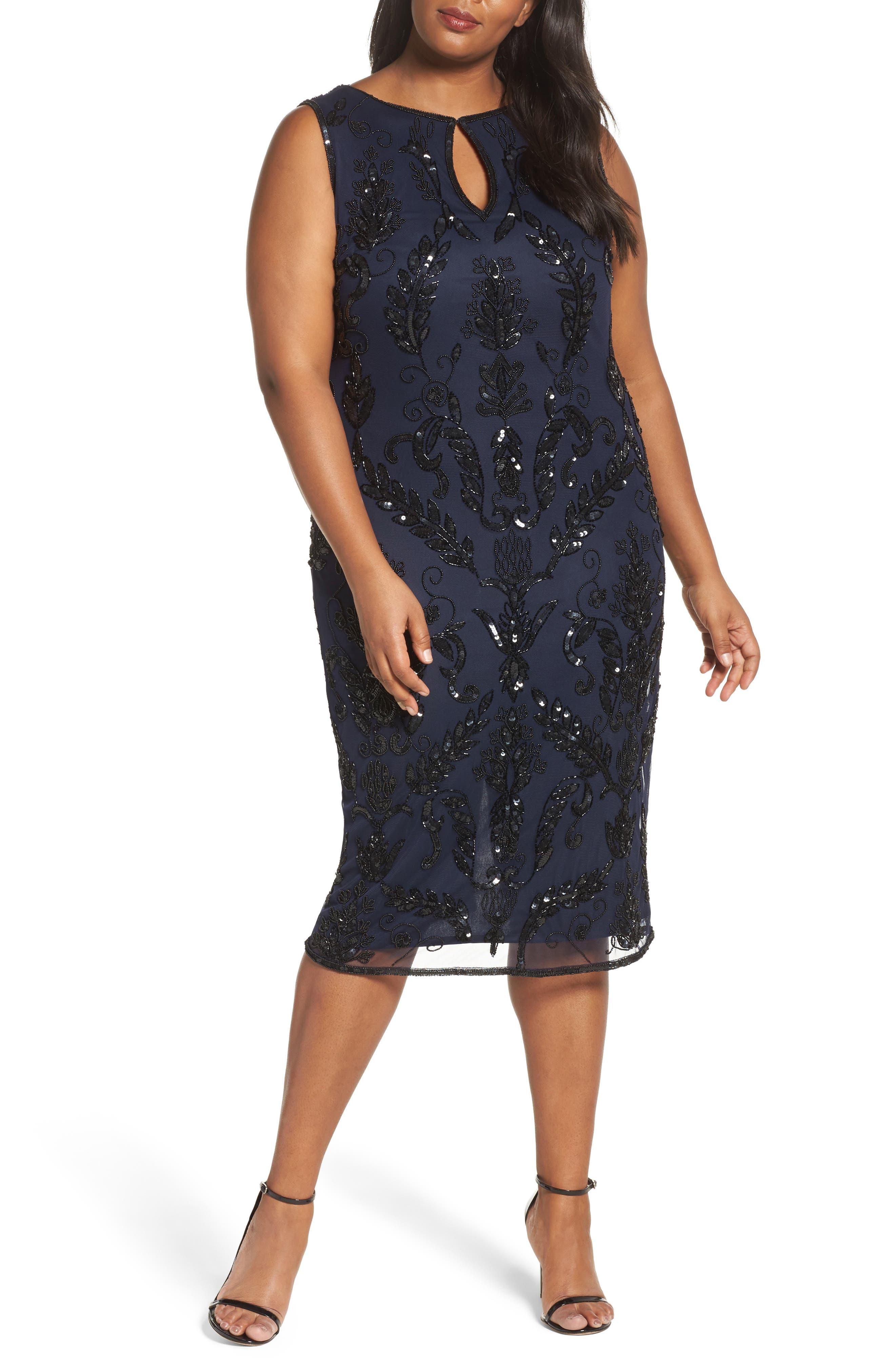 Pisarro Nights Embellished Tea Length Sheath Dress (Plus Size)