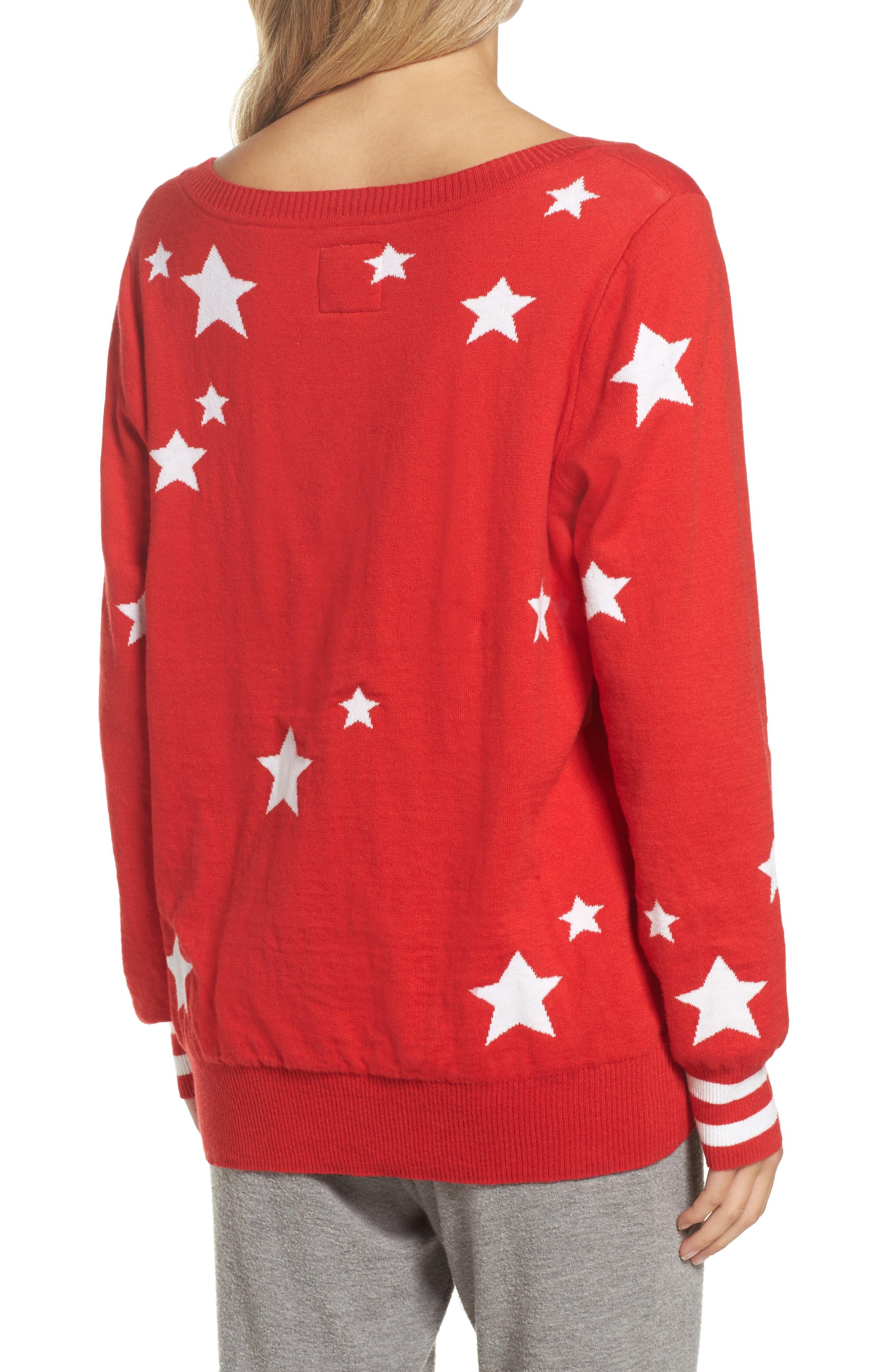 Weekends Intarsia Sweater,                             Alternate thumbnail 2, color,                             Cardinal