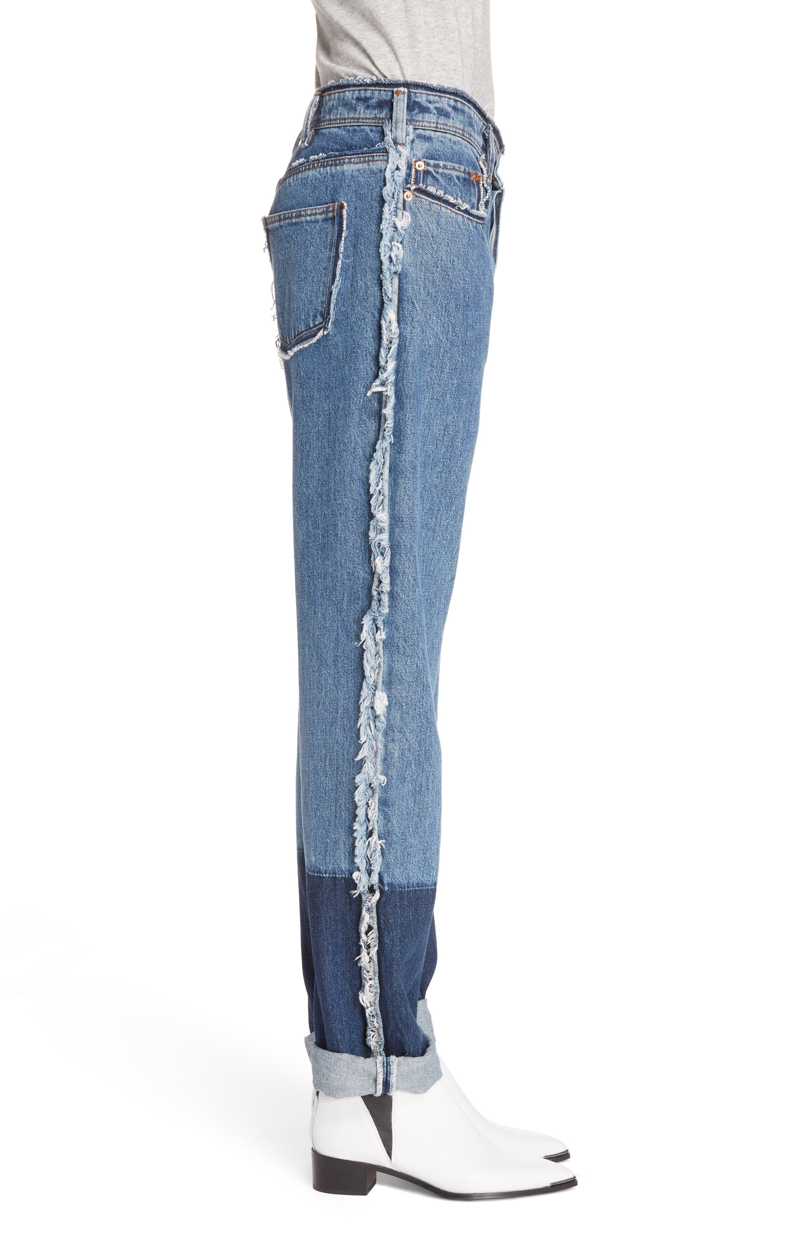 Mirja Frayed High Waist Straight Leg Jeans,                             Alternate thumbnail 4, color,                             Indigo Blue