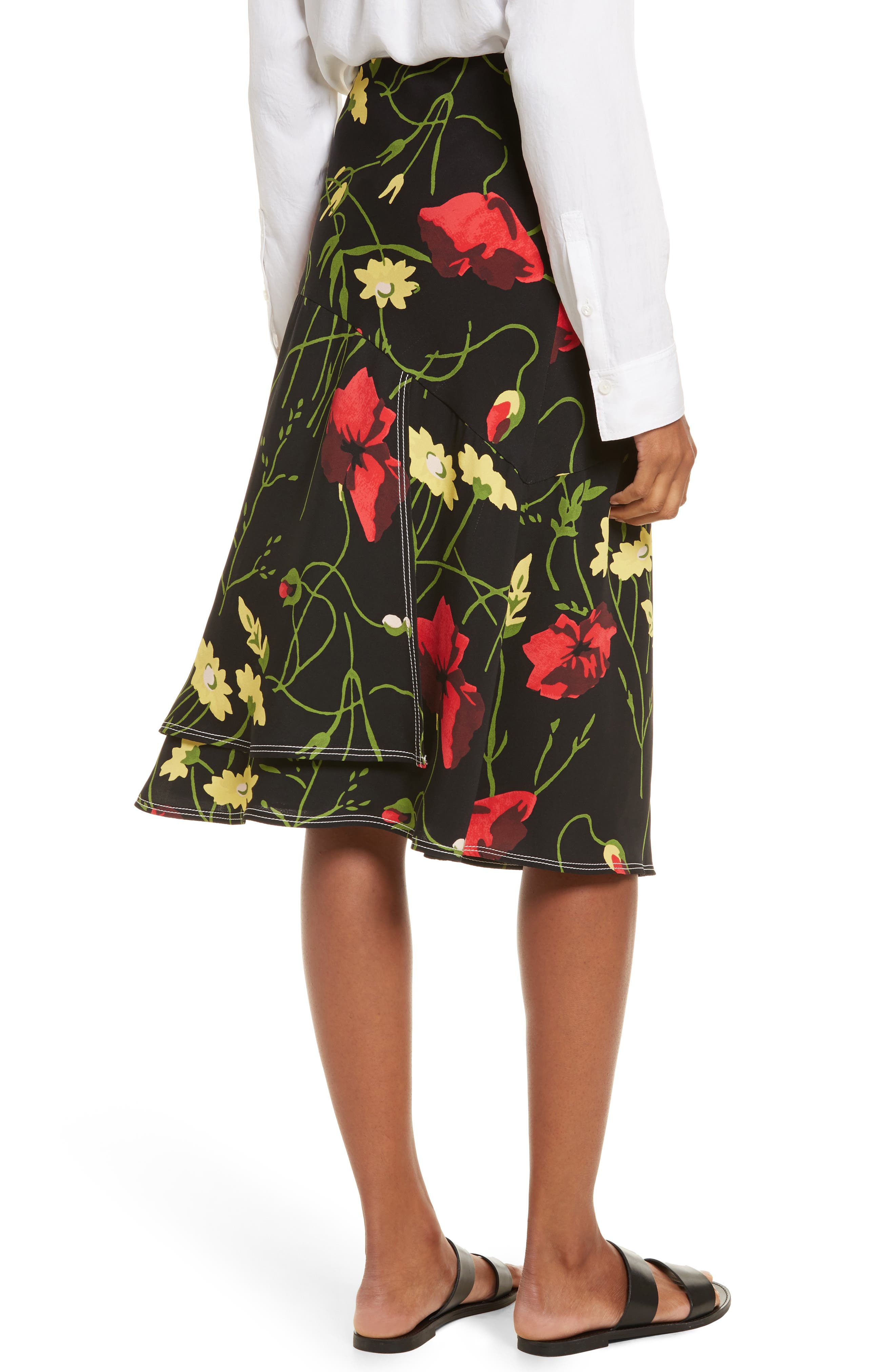 Floral Print Silk Skirt,                             Alternate thumbnail 2, color,                             Black Multi