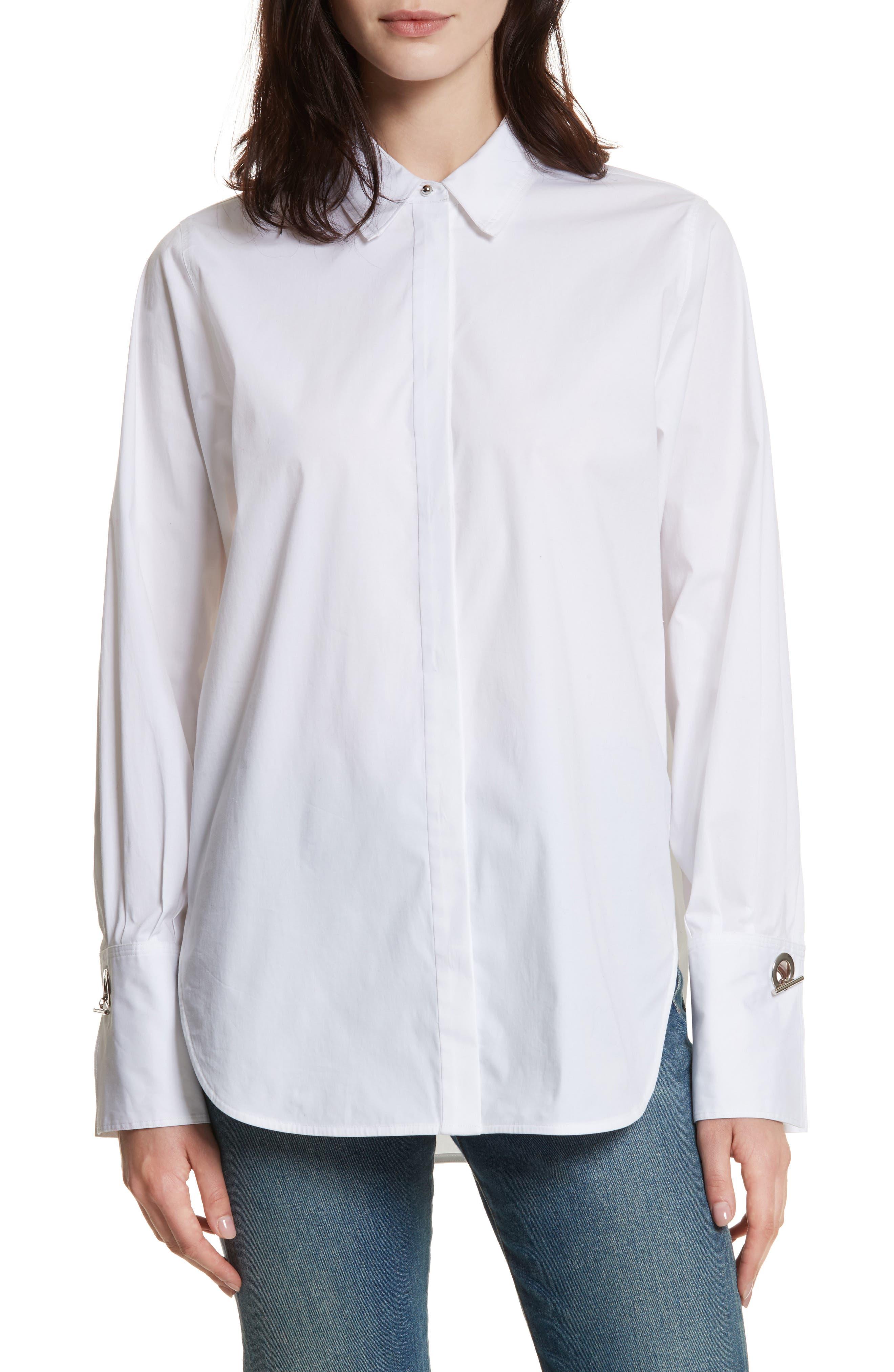 Jasper Stretch Poplin Shirt,                             Main thumbnail 1, color,                             White