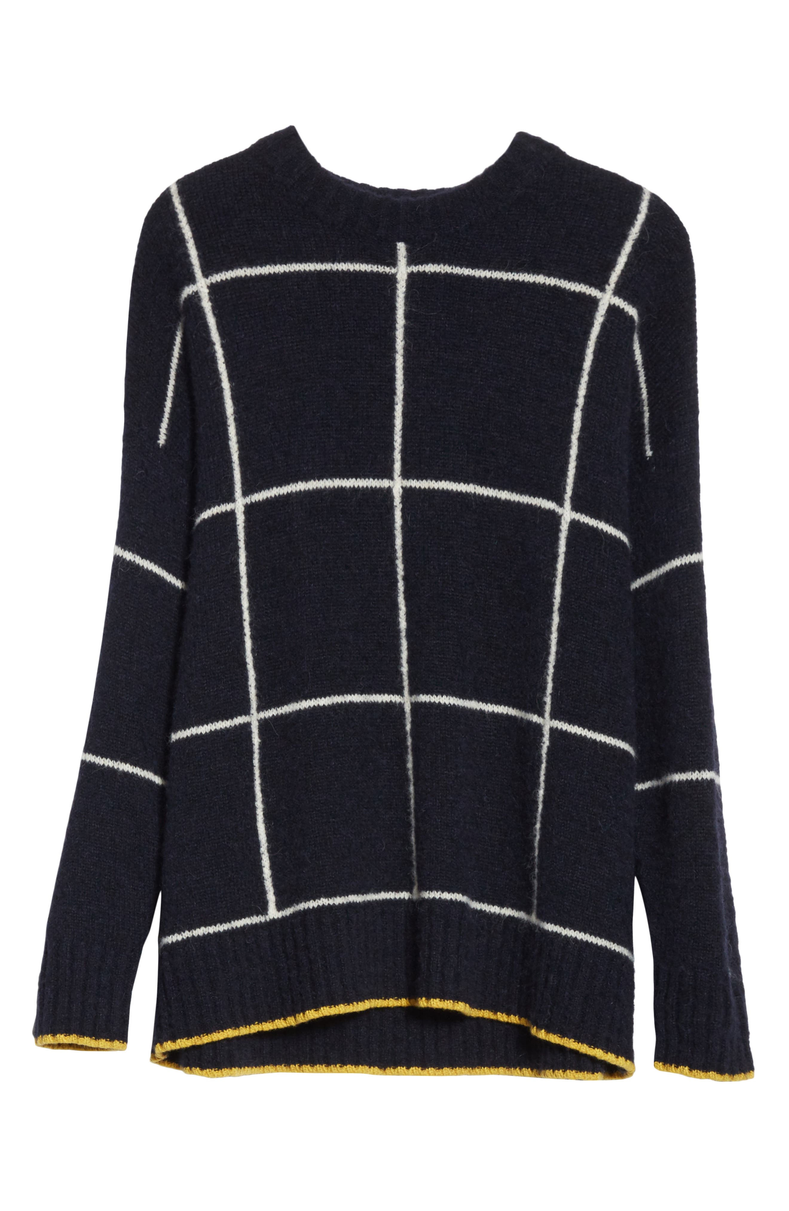 Fionn Windowpane Oversized Sweater,                             Alternate thumbnail 6, color,                             Navy/ Alabaster/ Pollen