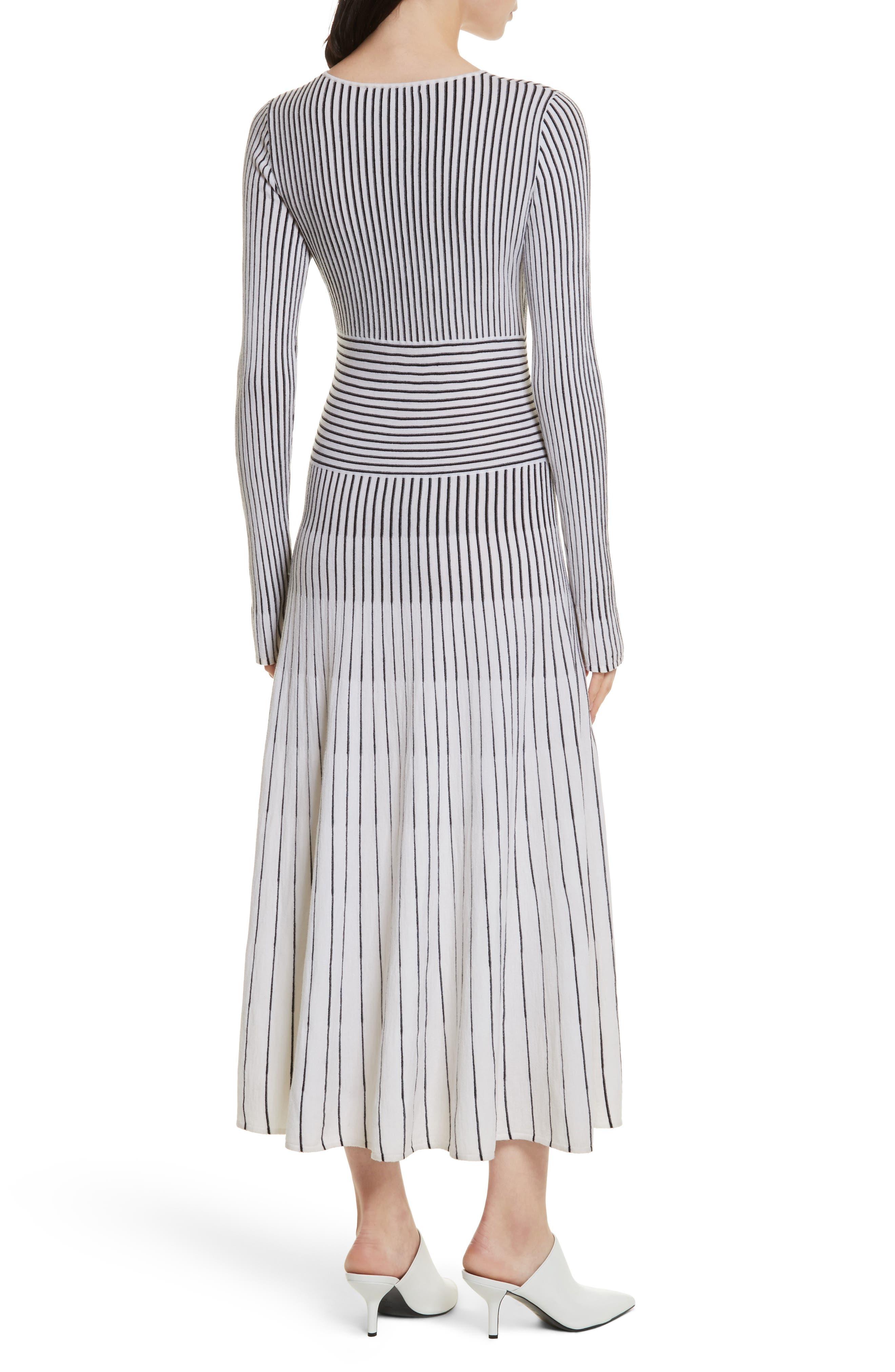 Sheridan Stripe Knit Midi Dress,                             Alternate thumbnail 2, color,                             Ivory/ Black
