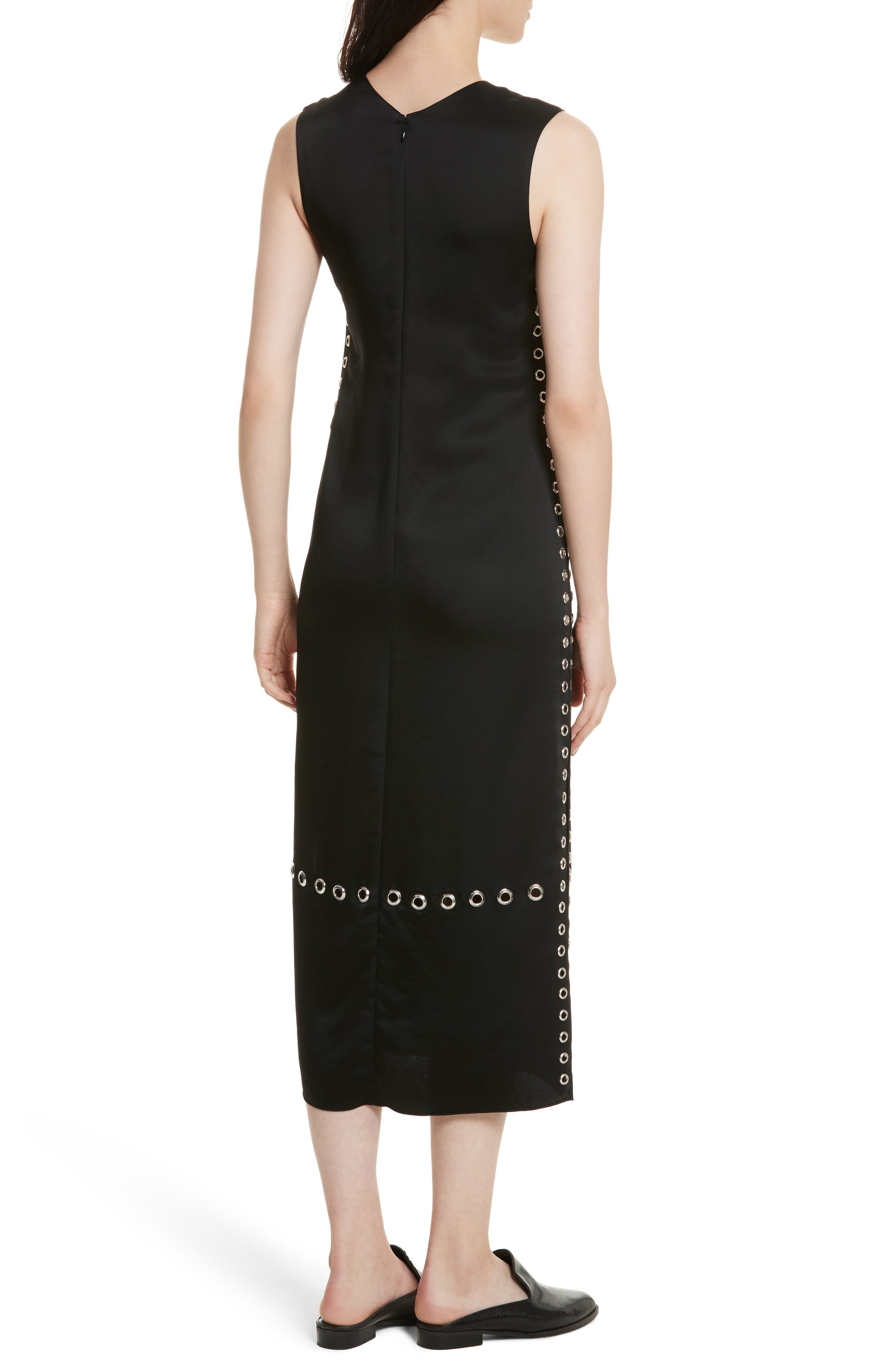 Leigh Grommet Midi Dress,                             Alternate thumbnail 2, color,                             Black