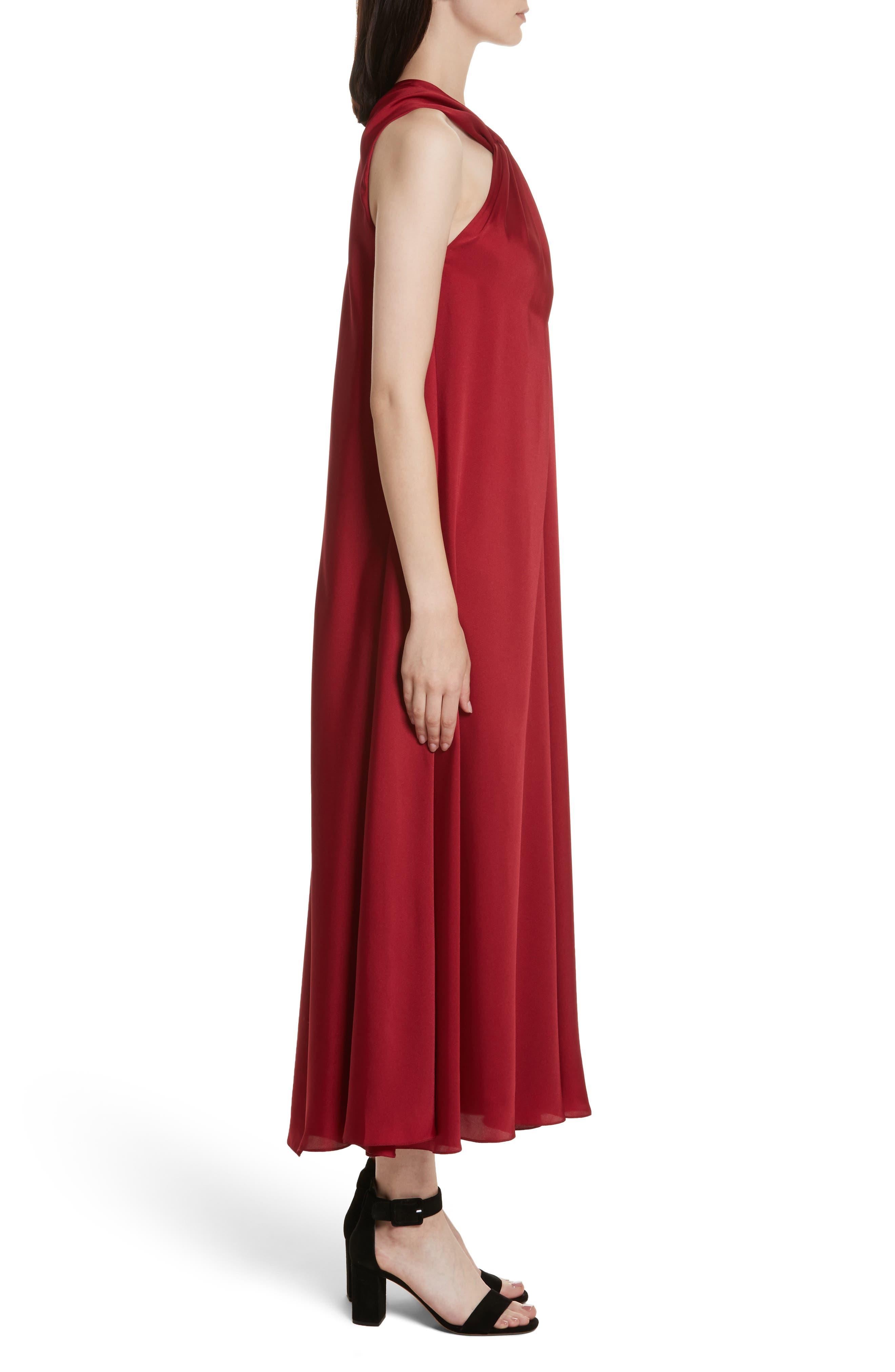 Cavan Twist Neck Satin Dress,                             Alternate thumbnail 3, color,                             Ruby