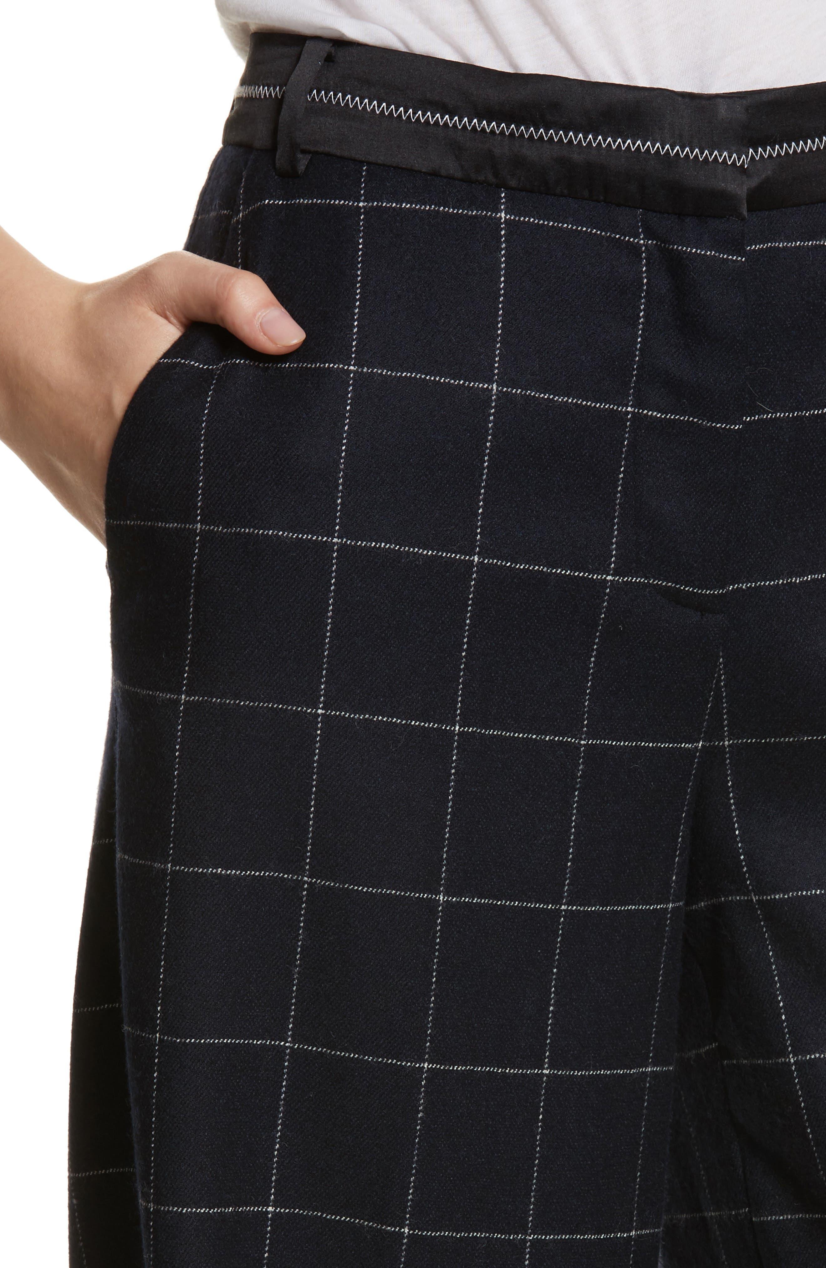 Windowpane Wool Blend Wide Leg Pants,                             Alternate thumbnail 4, color,                             Navy