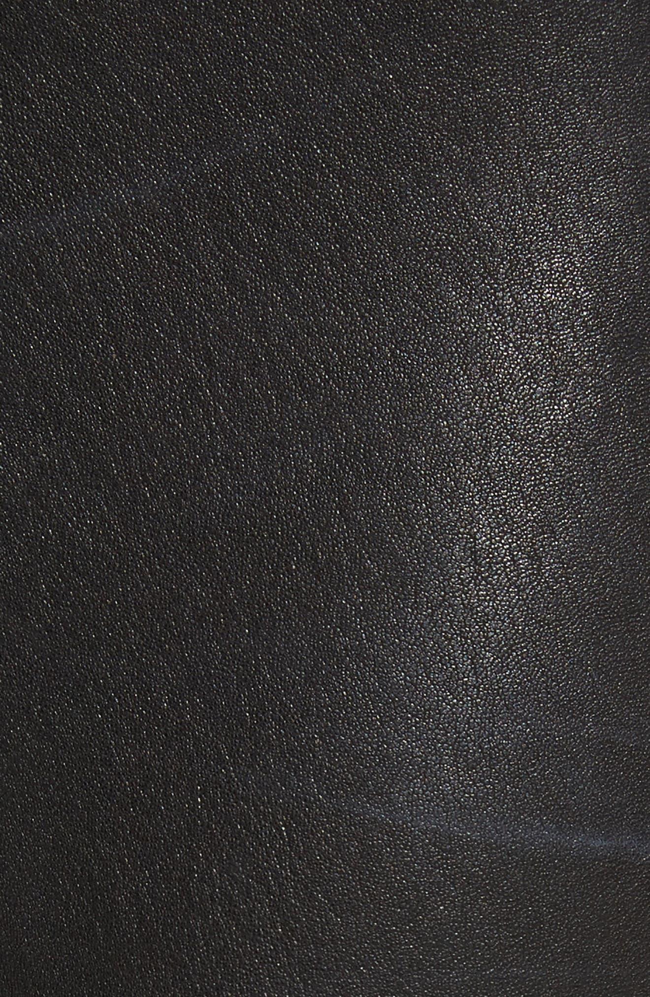 LAGENCE Adelaide High Waist Crop Leather Jeans,                             Alternate thumbnail 5, color,                             Noir