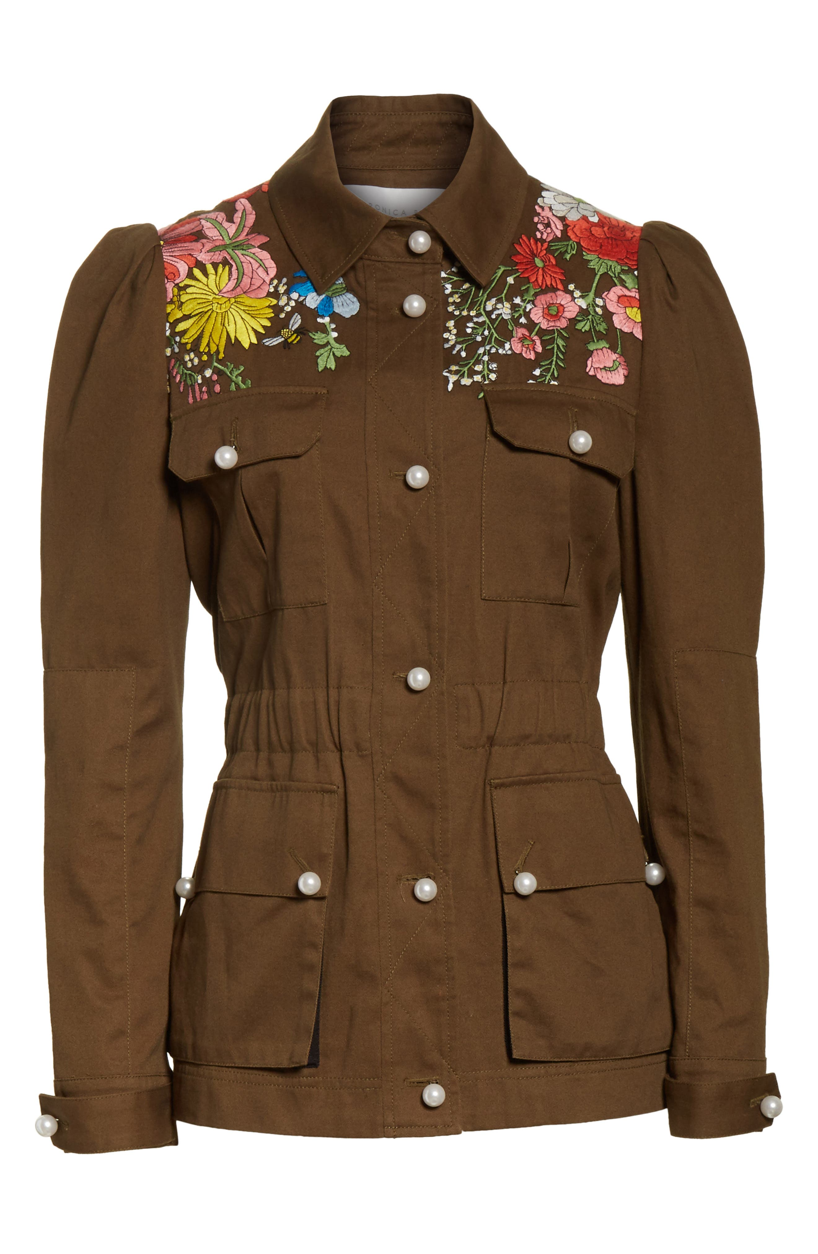 Huxley Floral Embroidered Safari Jacket,                             Alternate thumbnail 6, color,                             Army