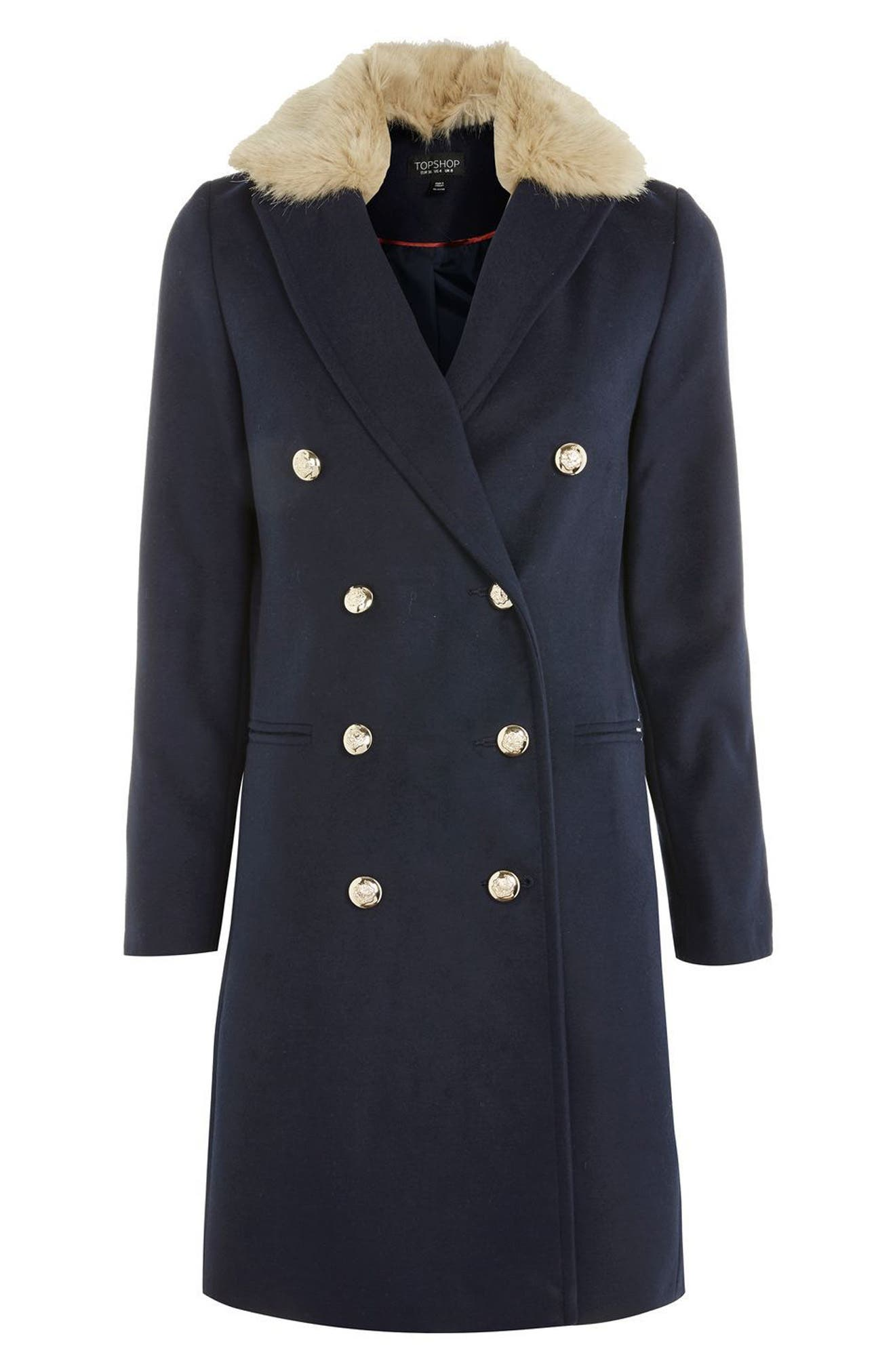 Alternate Image 2  - Topshop Nina Faux Fur Collar Double Breasted Coat