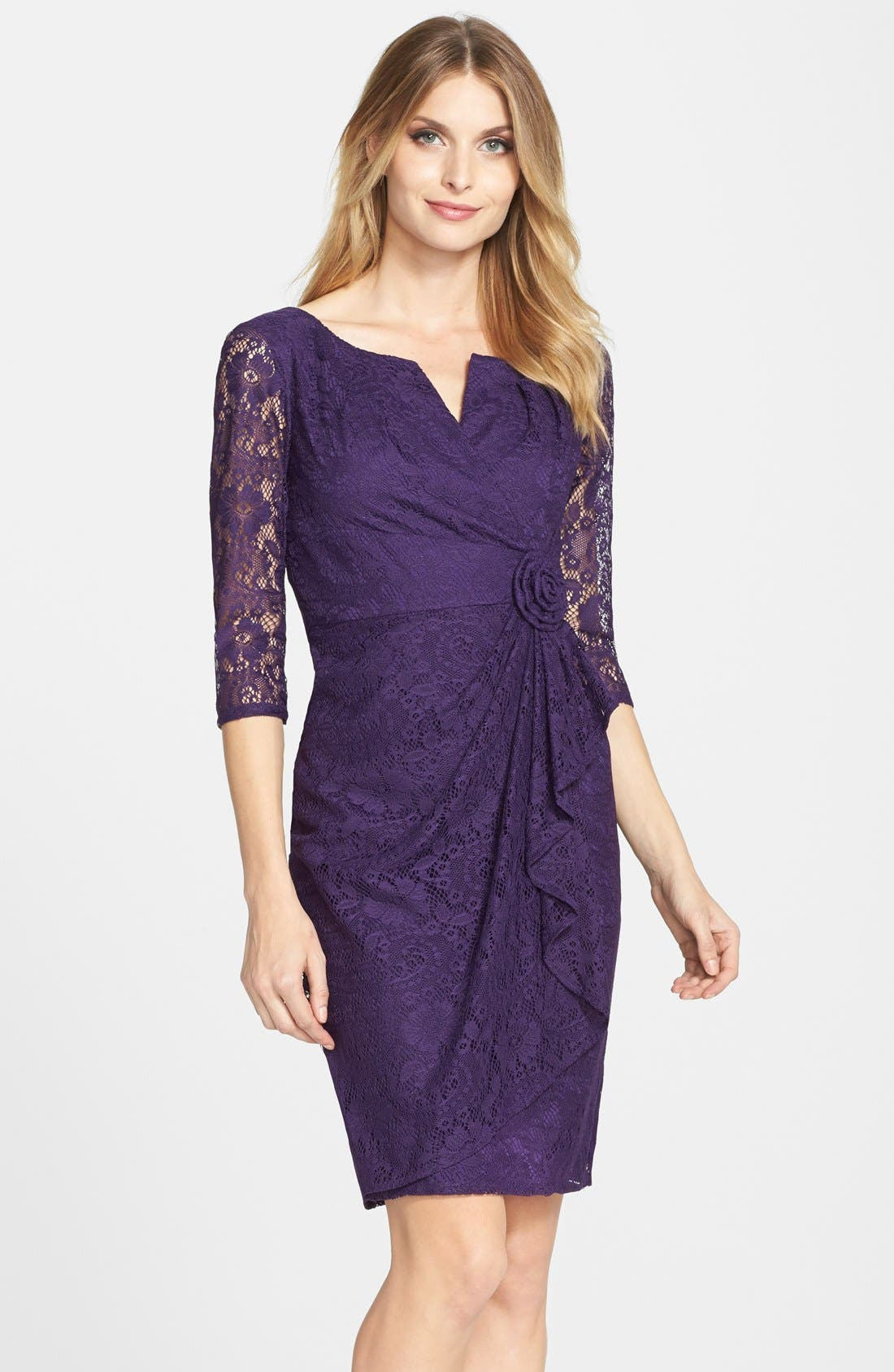 Alternate Image 1 Selected - Adrianna Papell Rosette Side Lace Dress