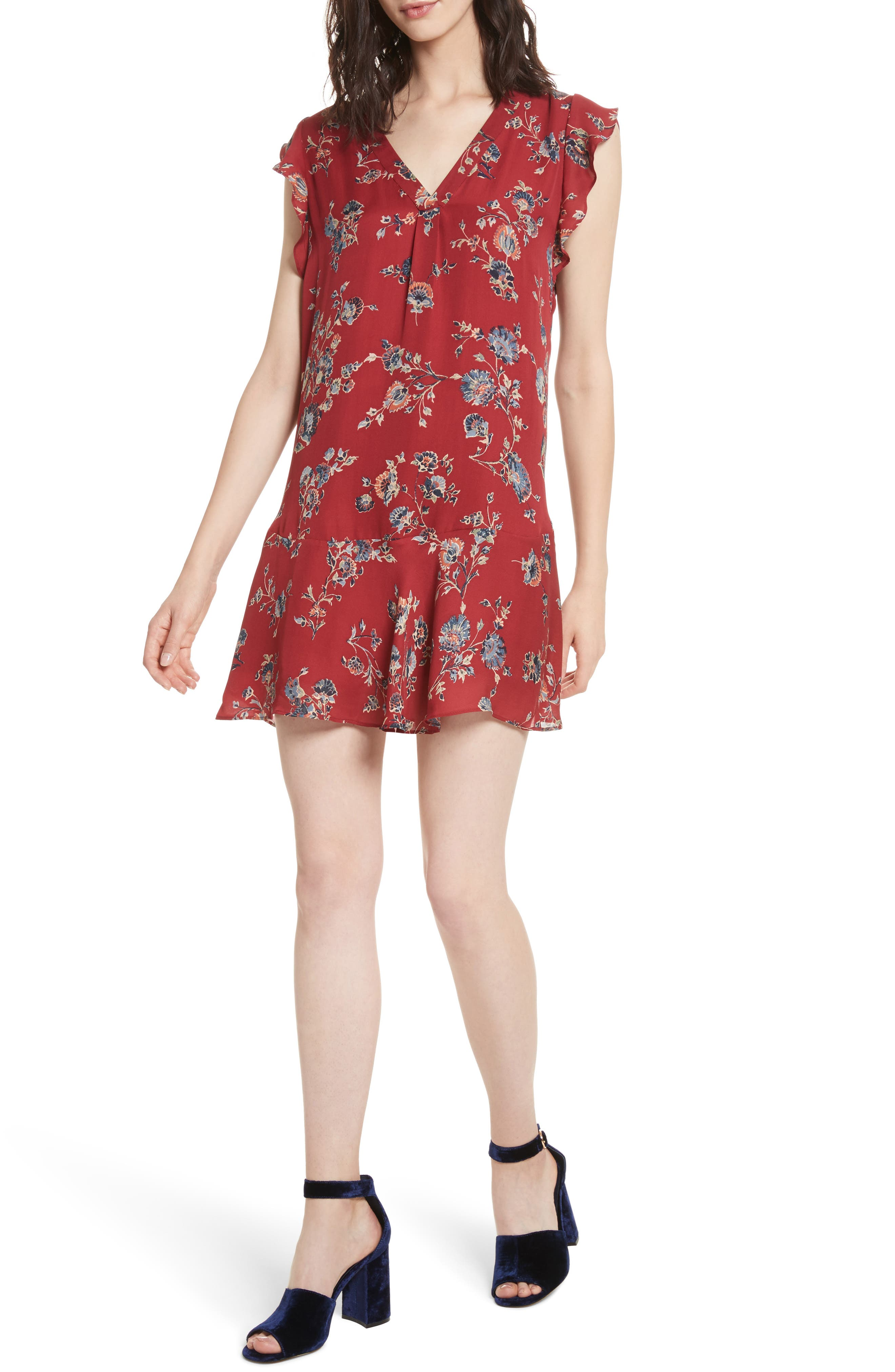 Almarie Floral Silk Mindress,                             Alternate thumbnail 2, color,                             Tandoori Red