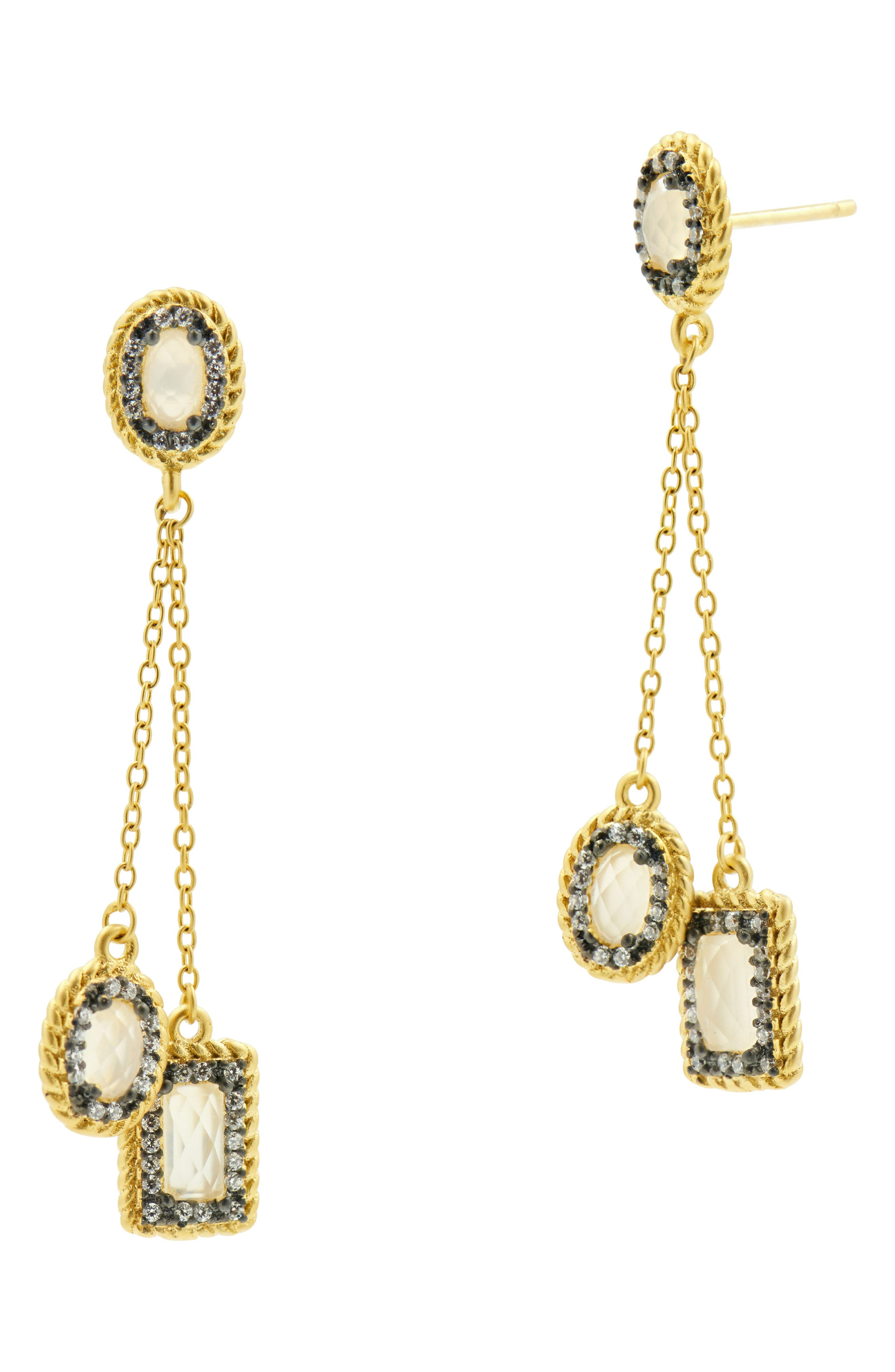Chain Drop Earrings,                             Main thumbnail 1, color,                             Black/ Gold