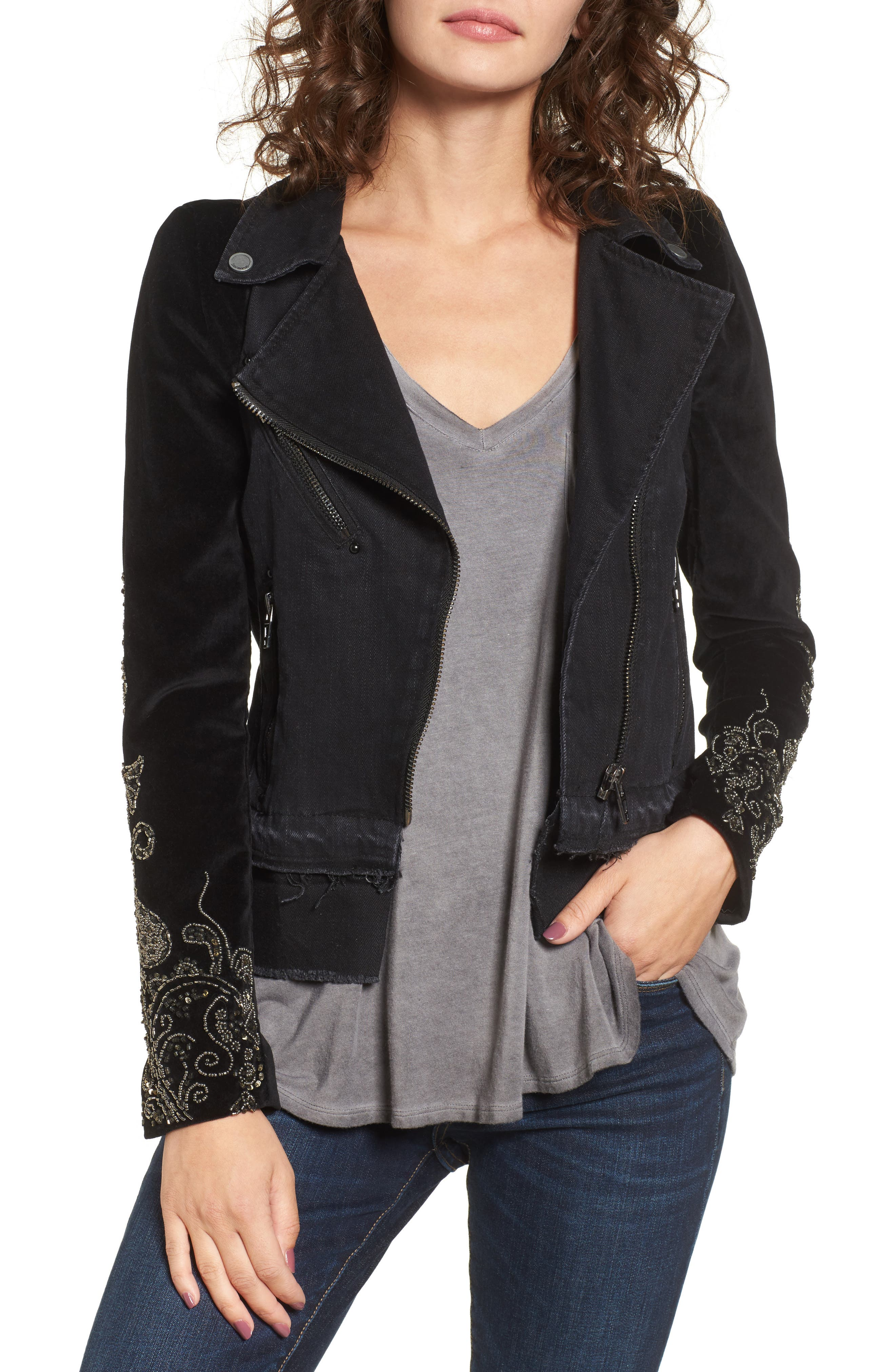 Denim Mix Moto Jacket,                             Main thumbnail 1, color,                             Night Light