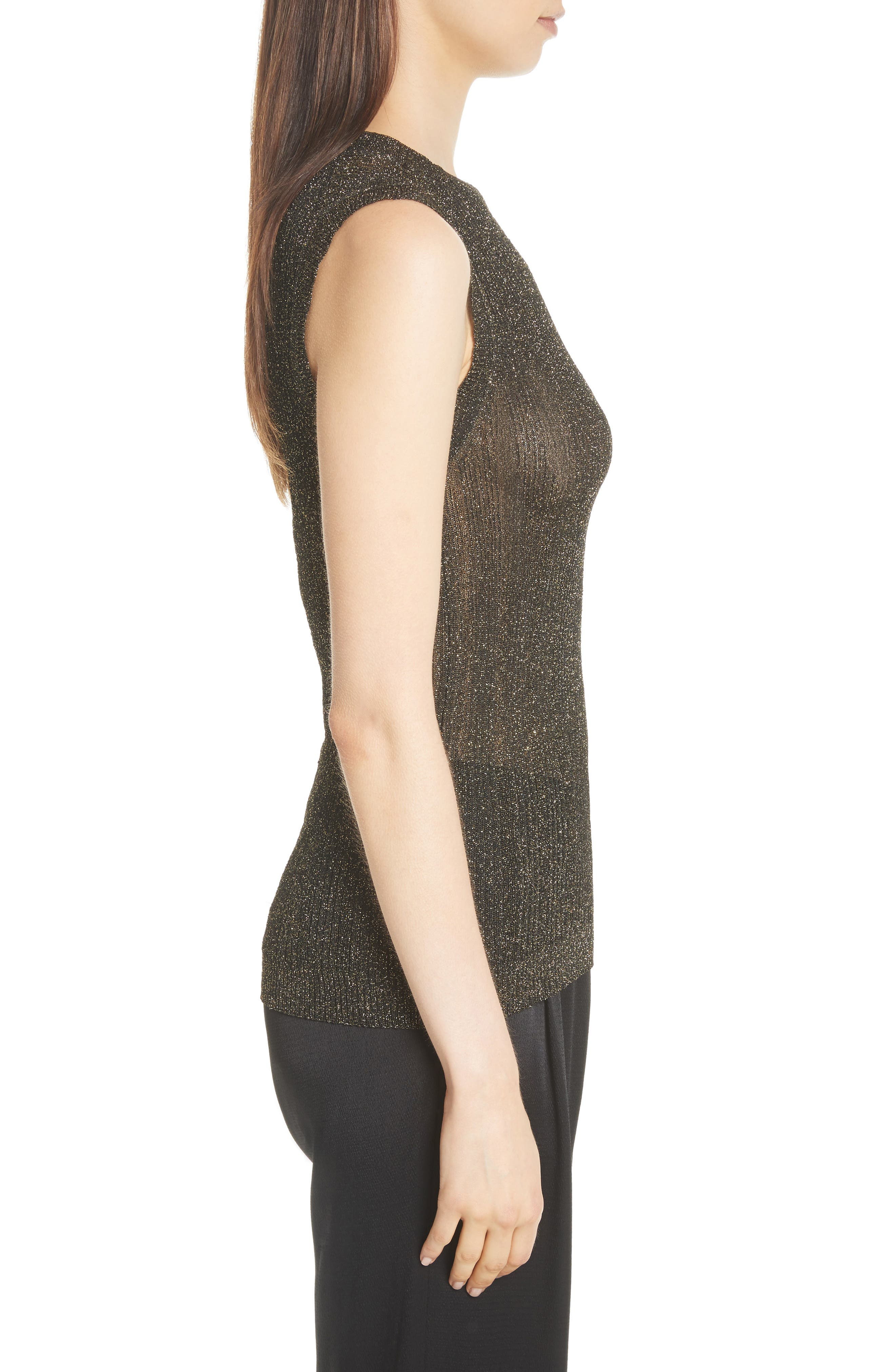 Alternate Image 4  - Nili Lotan Lace Metallic Knit Top