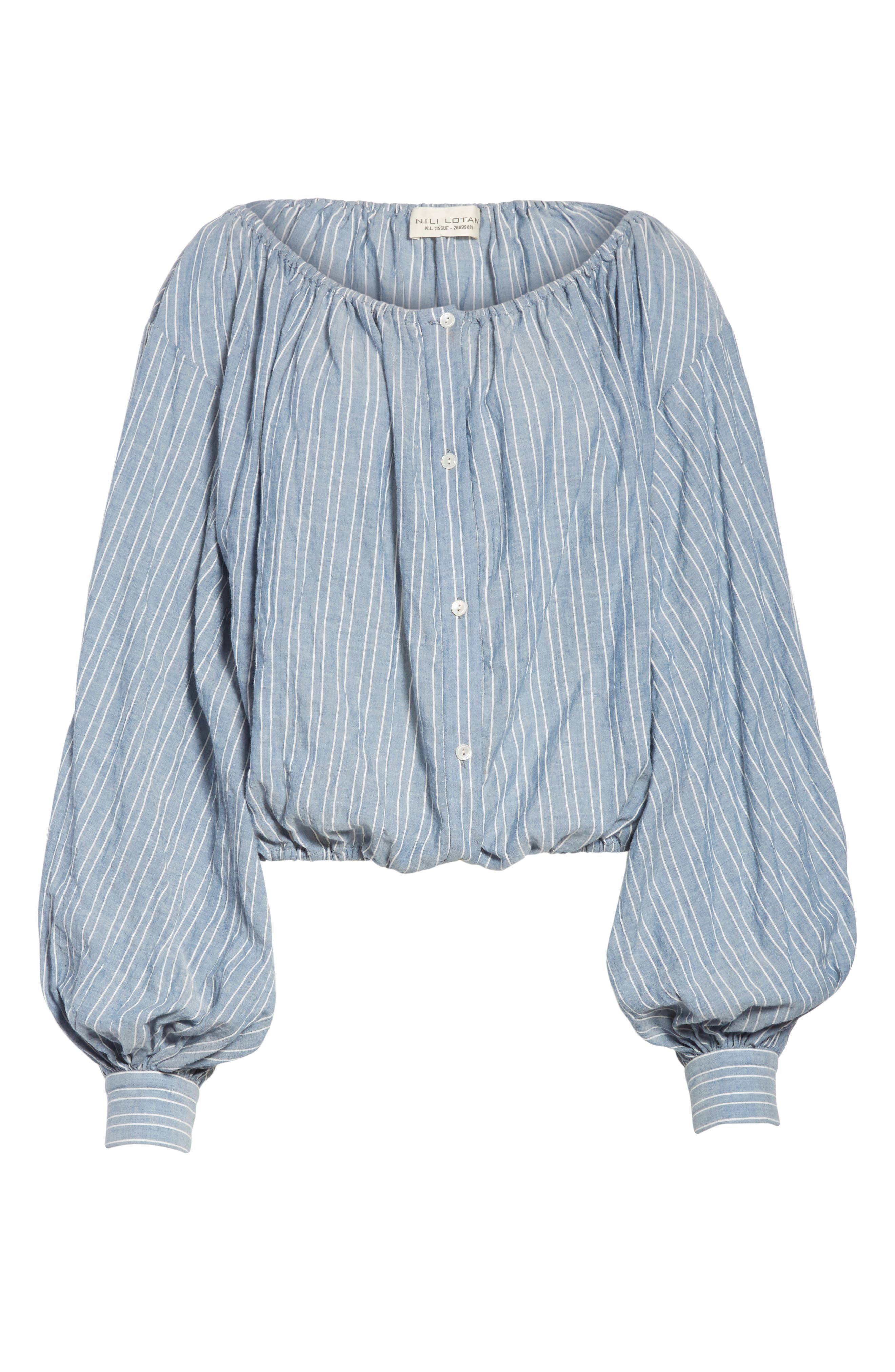 Roxie Chambray Puff Sleeve Blouse,                             Alternate thumbnail 7, color,                             Navy