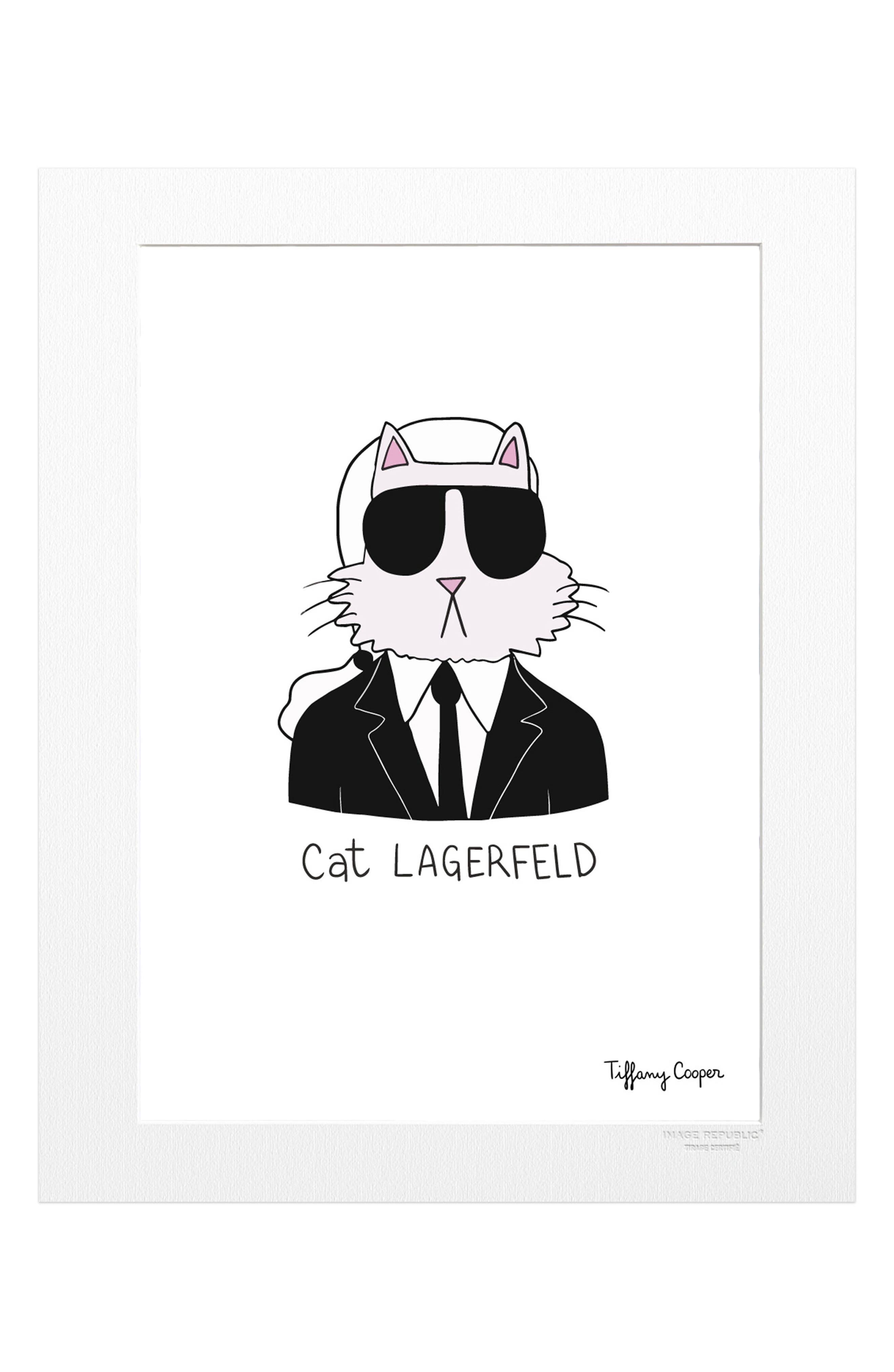 Tiffany Cat Lagerfeld Print,                             Main thumbnail 1, color,                             White