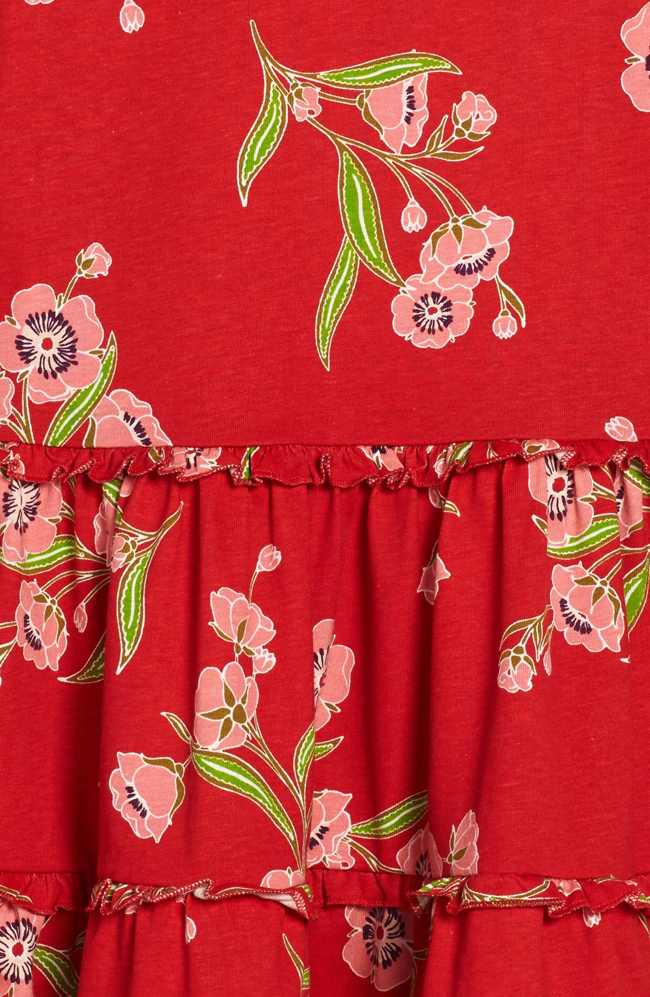 Rowan Floral Print Tiered Dress,                             Alternate thumbnail 3, color,                             Red Lantern