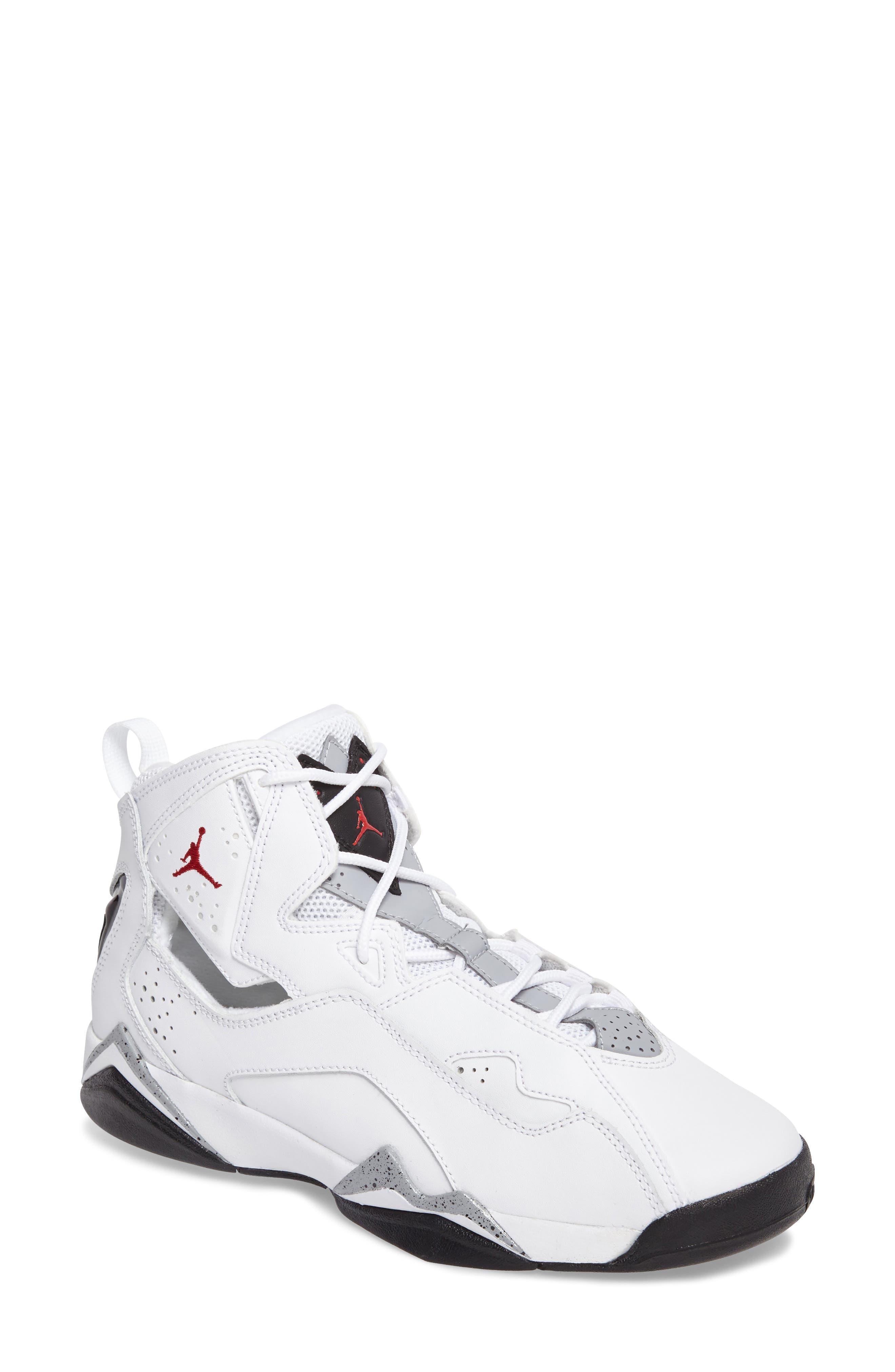 True Flight BG High Top Sneaker,                         Main,                         color, White/ Gym Red/ Wolf Grey